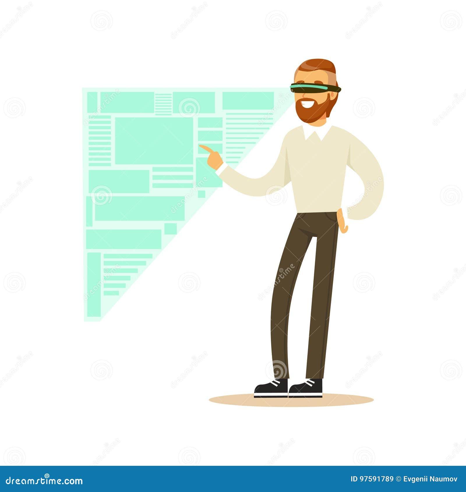 Affärsman som bär VR-hörlurar med mikrofon som arbetar i digital simulering som analyserar affärsprocessar, framtida teknologibeg
