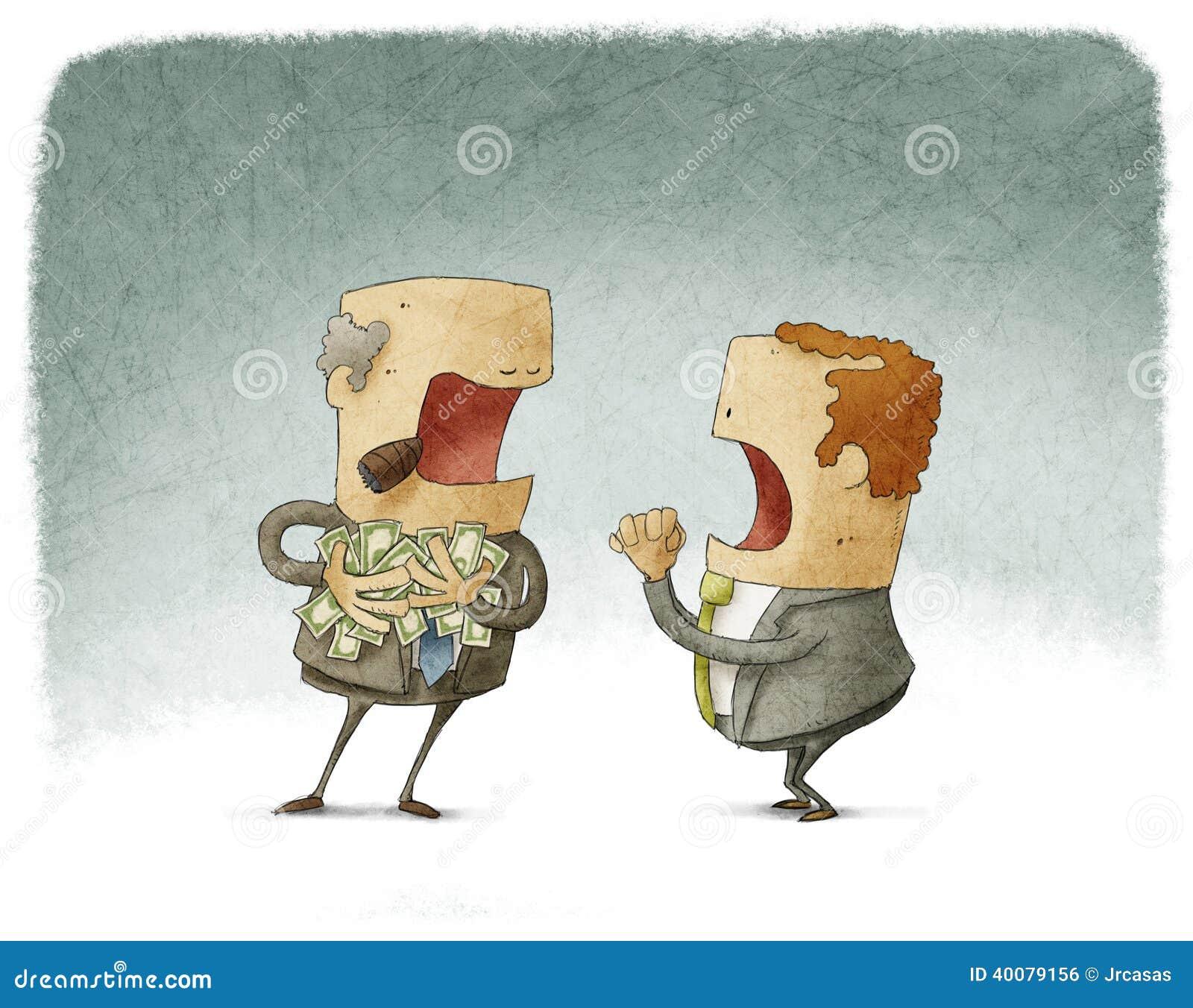 Affärsman som frågar för pengar till ett girigt