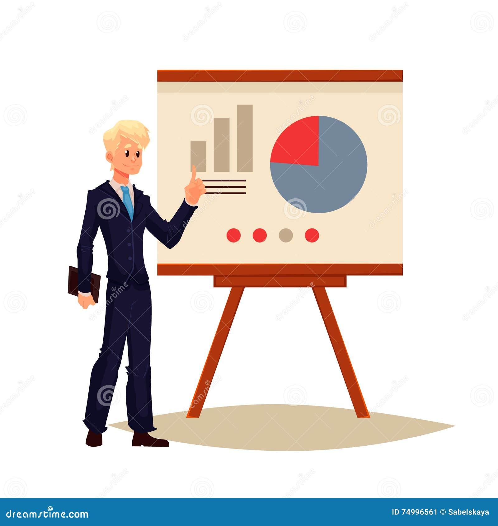 Affärsman som ger presentation genom att använda ett bräde
