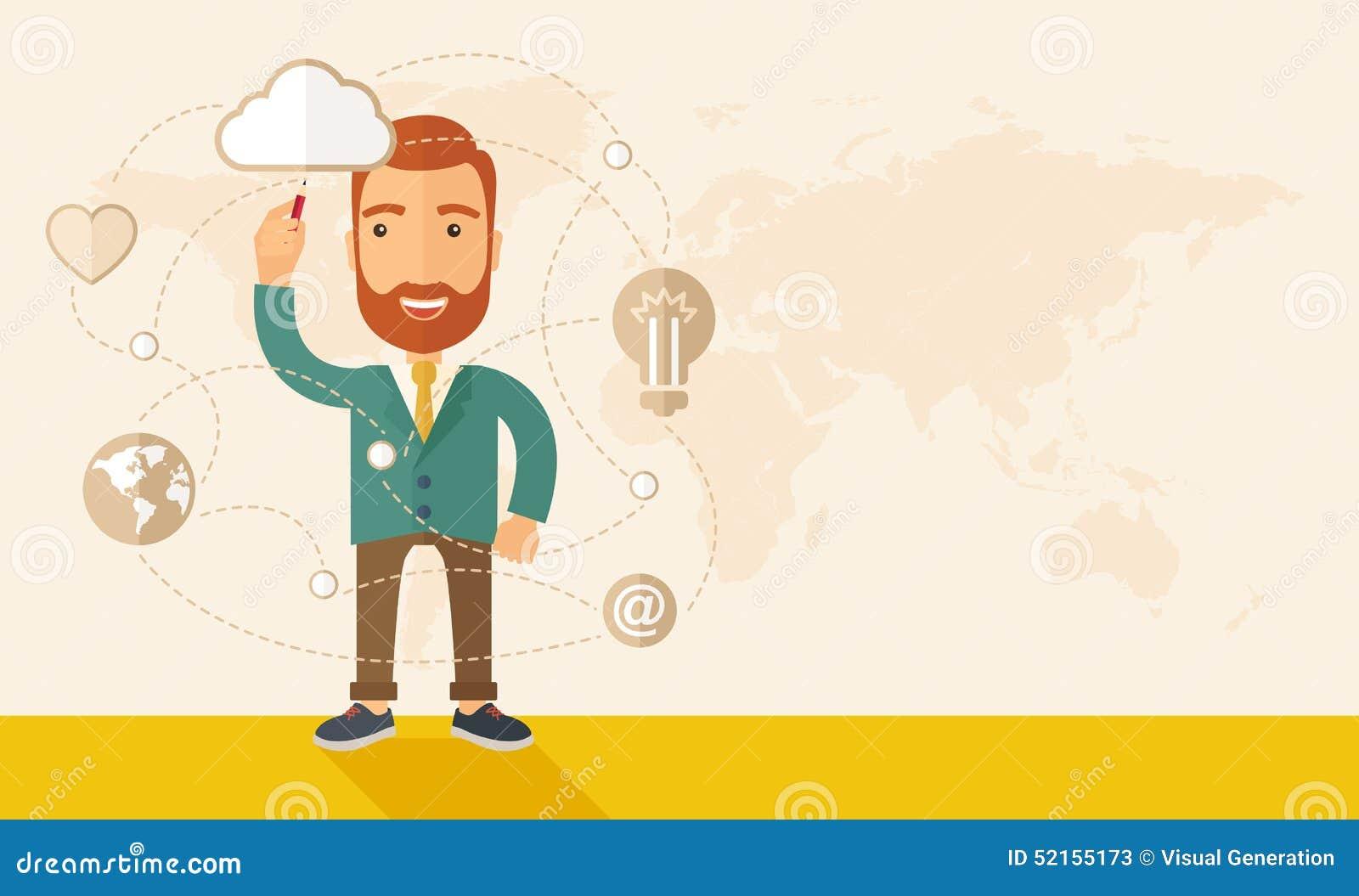 Affärsman som illustrerar hans affärsplan