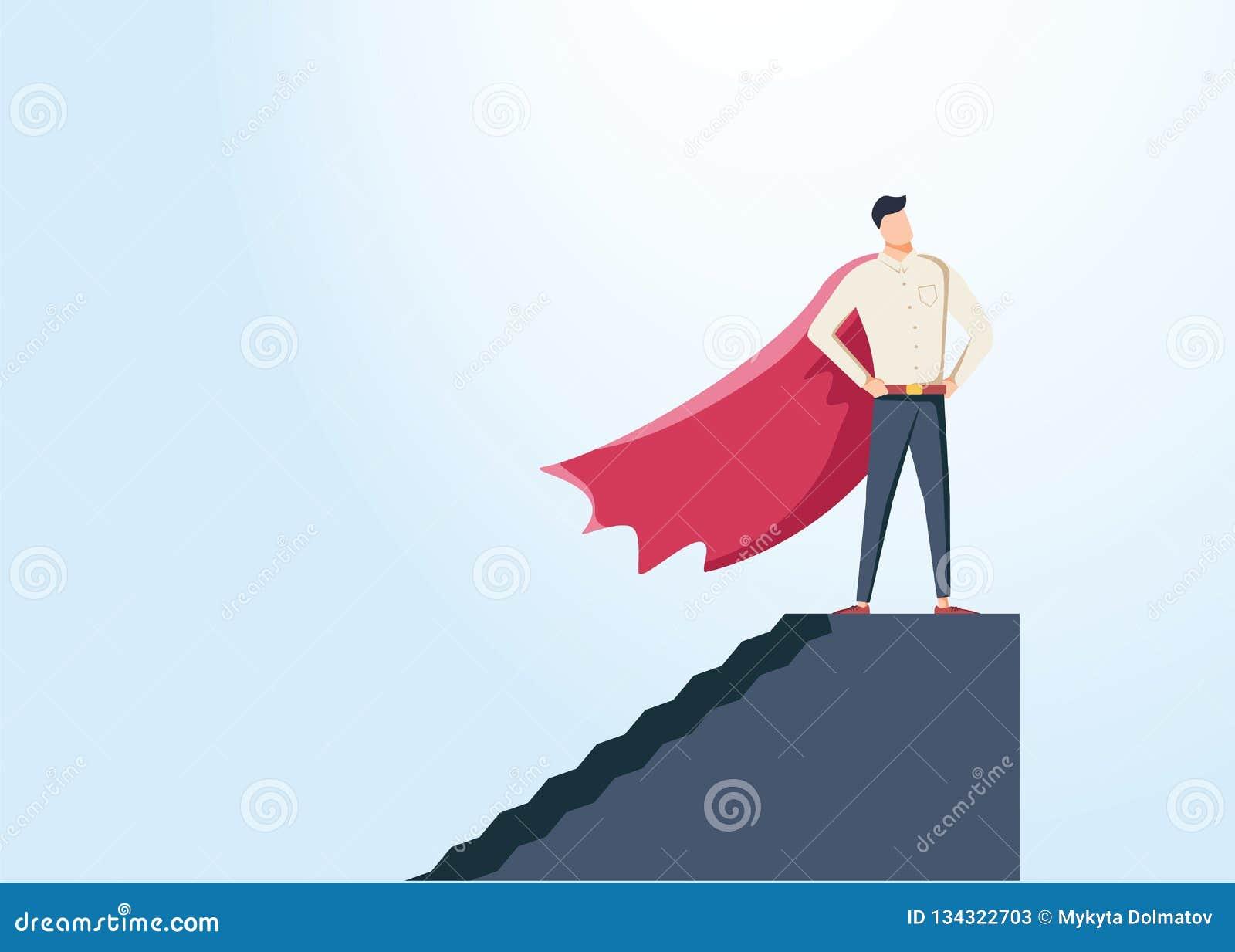 Affärsman som kläs som superherovektorbegrepp Symbol av makt, styrka, ledarskap, framgång, vision