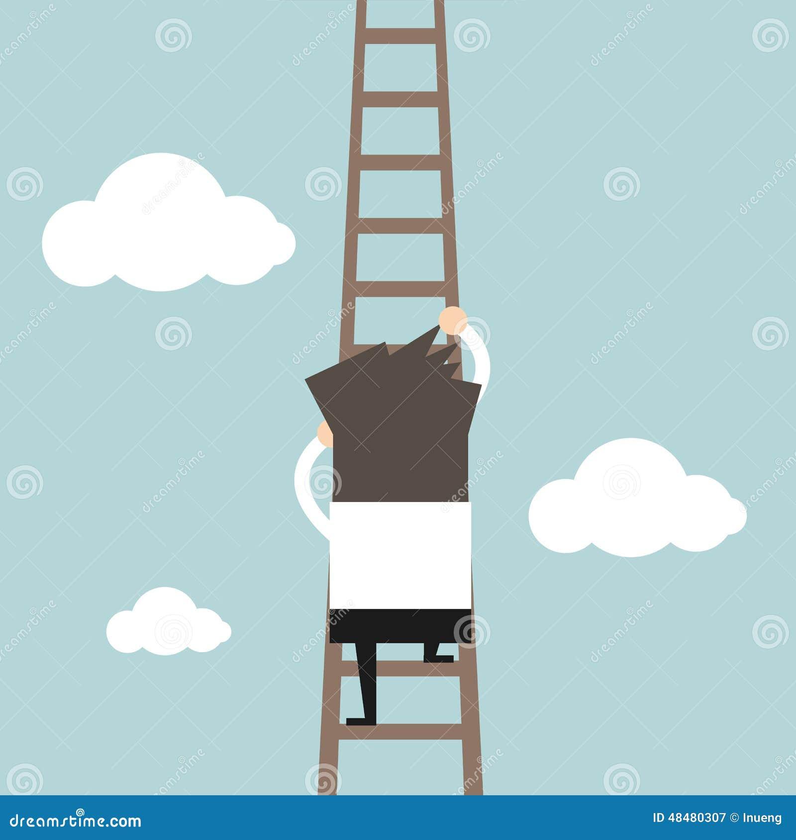 Affärsman som klättrar stegen