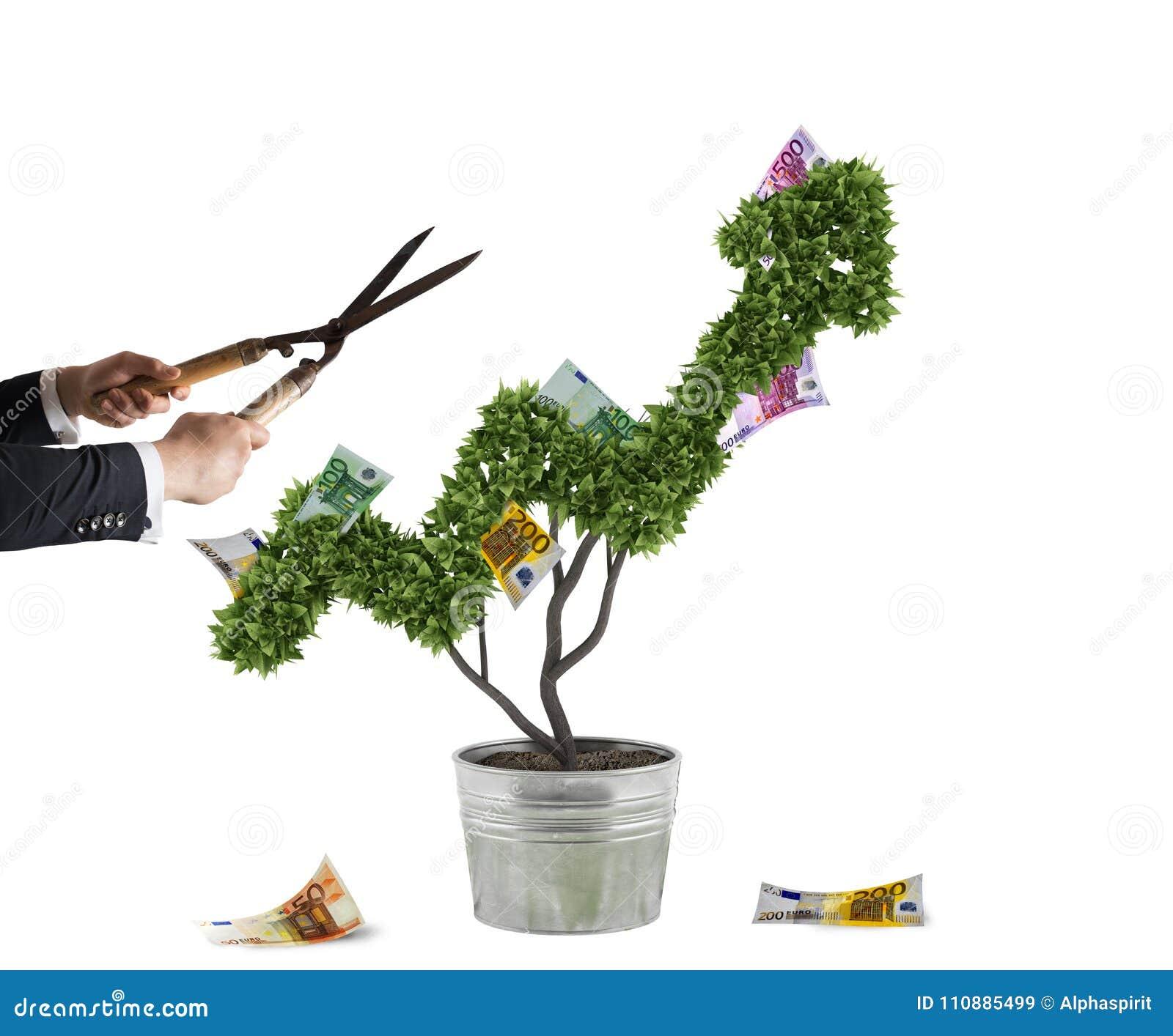 Affärsman som klipper och justerar pengarträdet som formas som en pilstatistik Begrepp av det startup företaget framförande 3d
