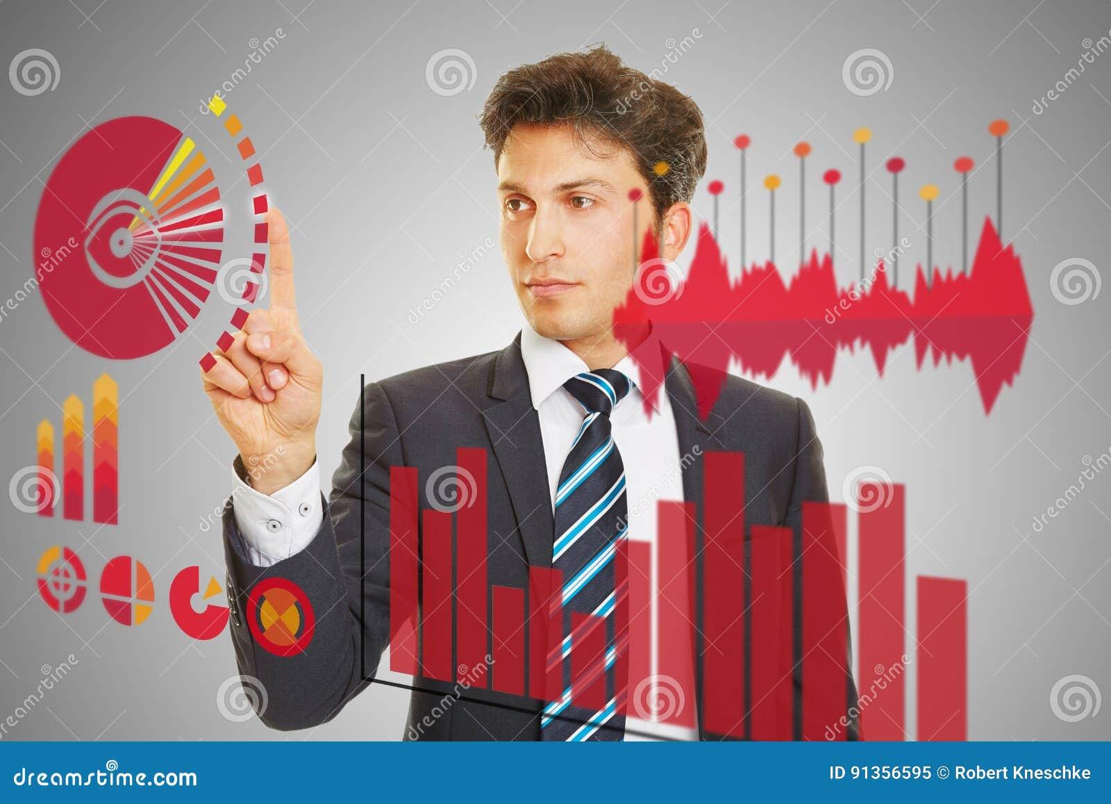 Affärsman som kontrollerar analys av finansiella data