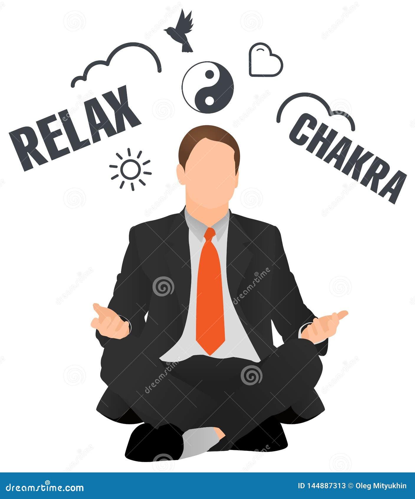 Affärsman som mediterar och kopplar av
