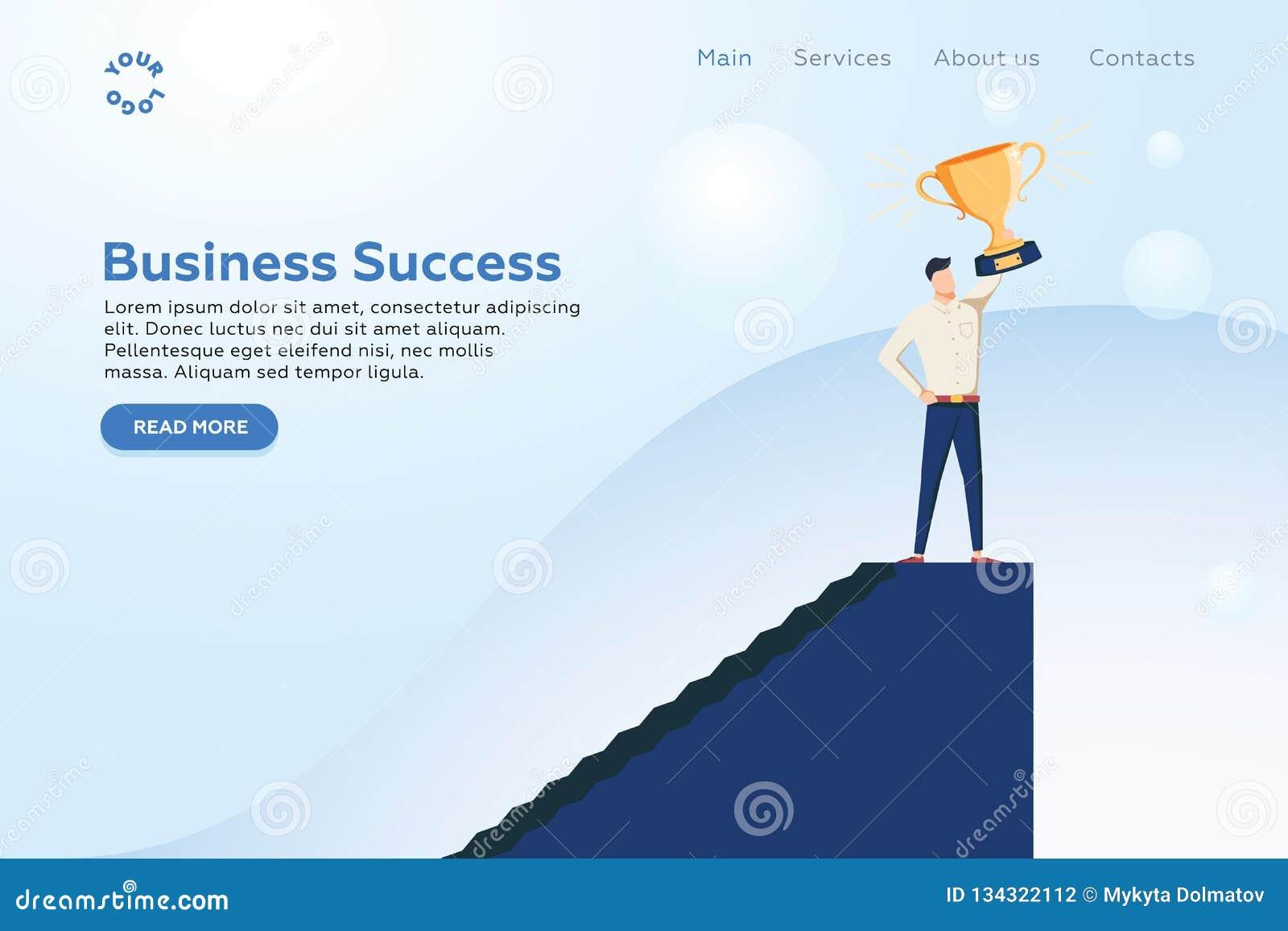 Affärsman som rymmer vektorbegrepp för guld- kopp Symbol av affärsmakt, styrka, ledarskap, framgång, vision