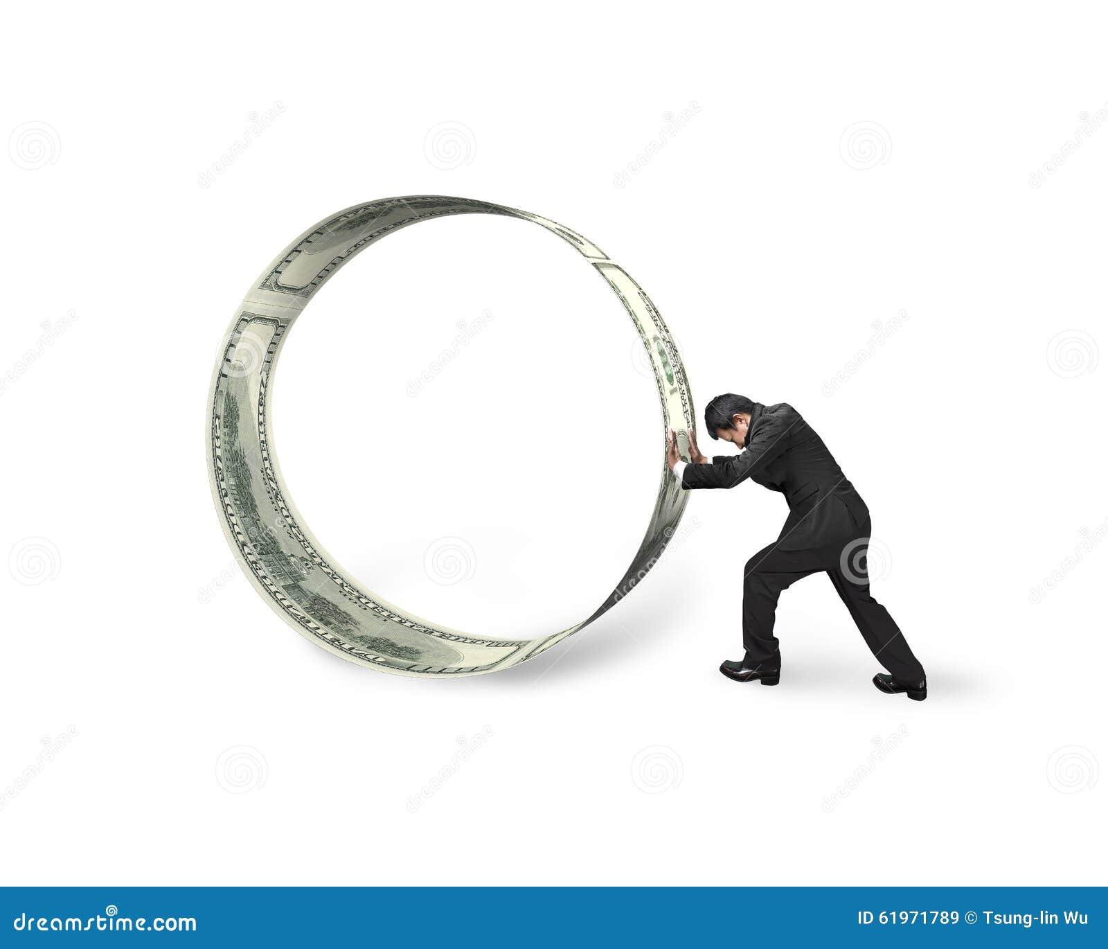 Affärsman som skjuter en rulle av dollarräkningar