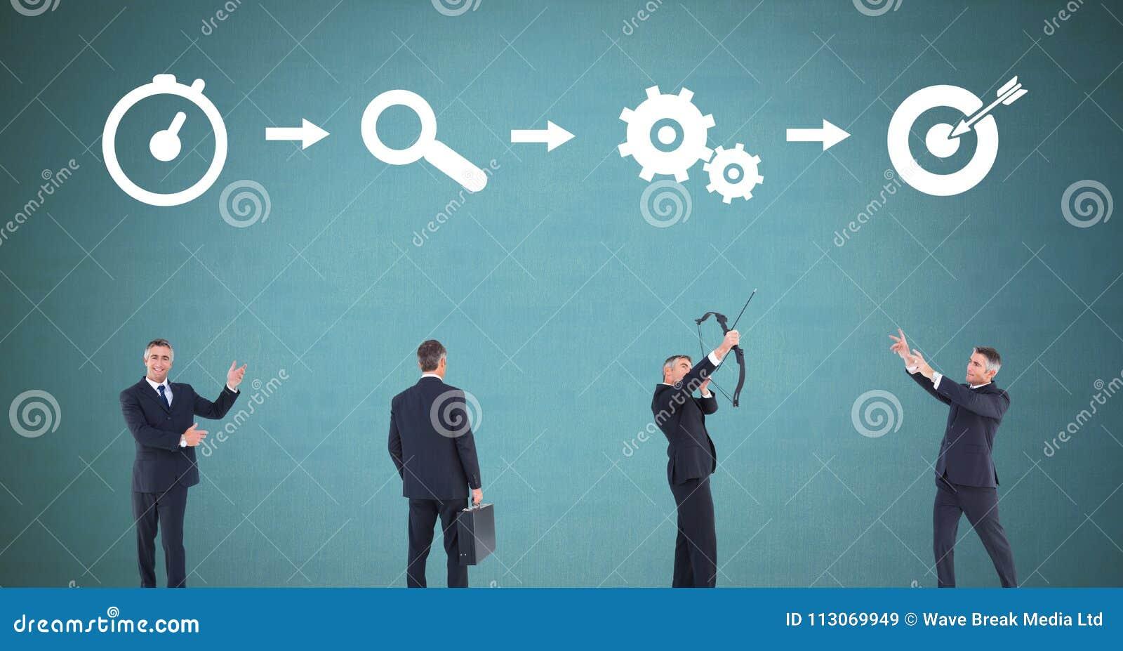 Affärsman som tänker i följd med idéer och kläckning av ideerprocesssymboler