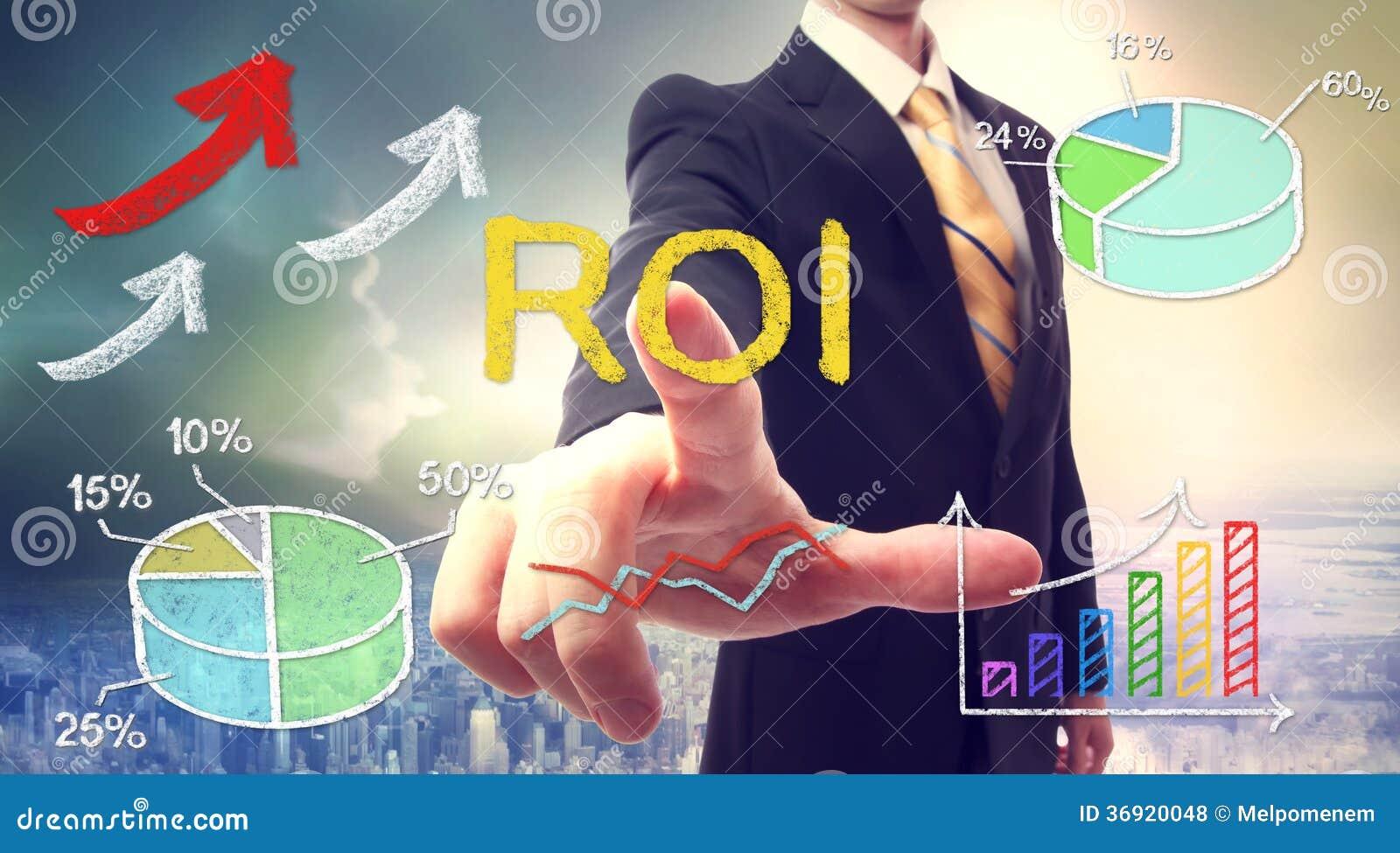 Affärsman som trycker på ROI (retur på investering)