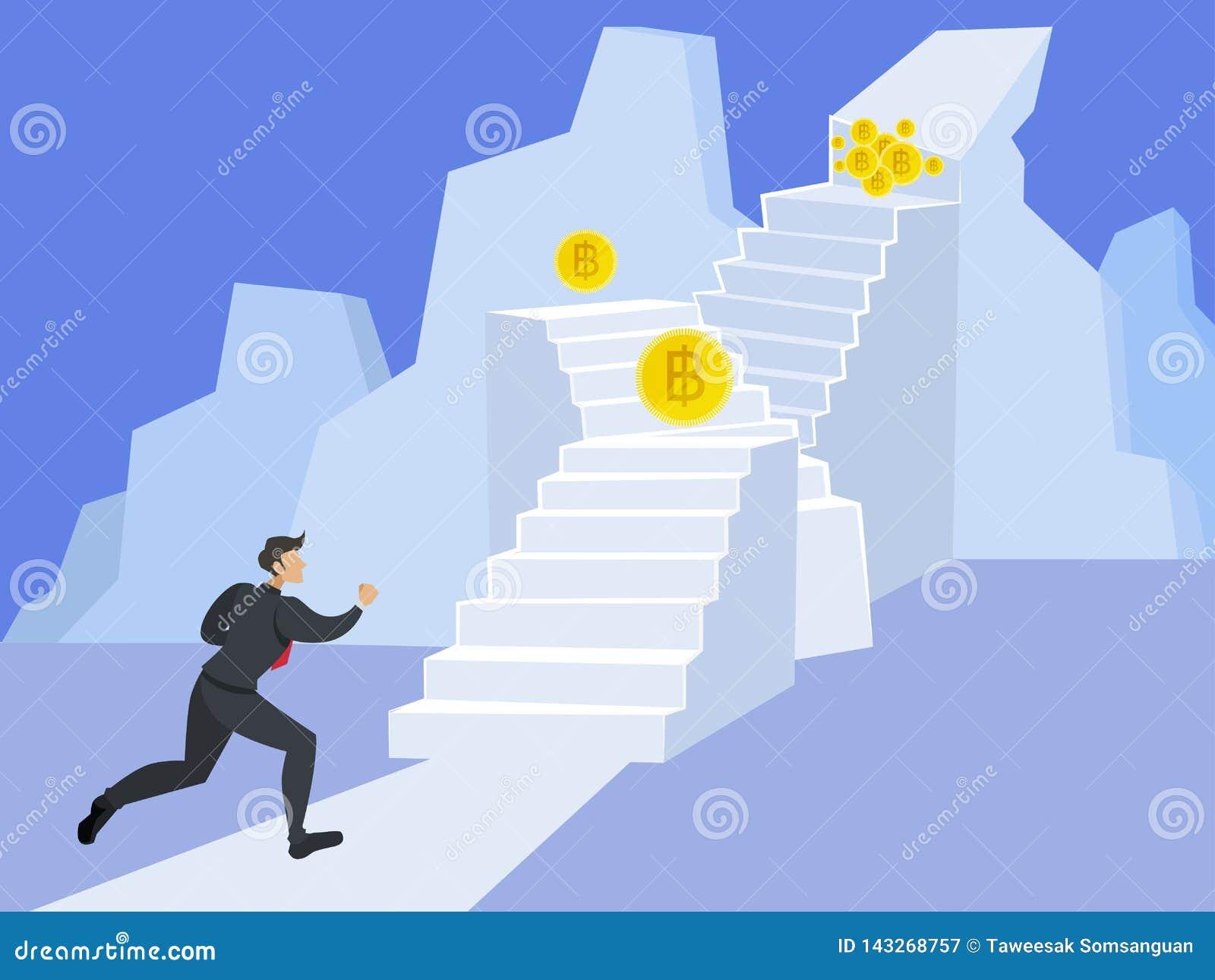 Affärsman som upp kör trappan till överkanten av berget