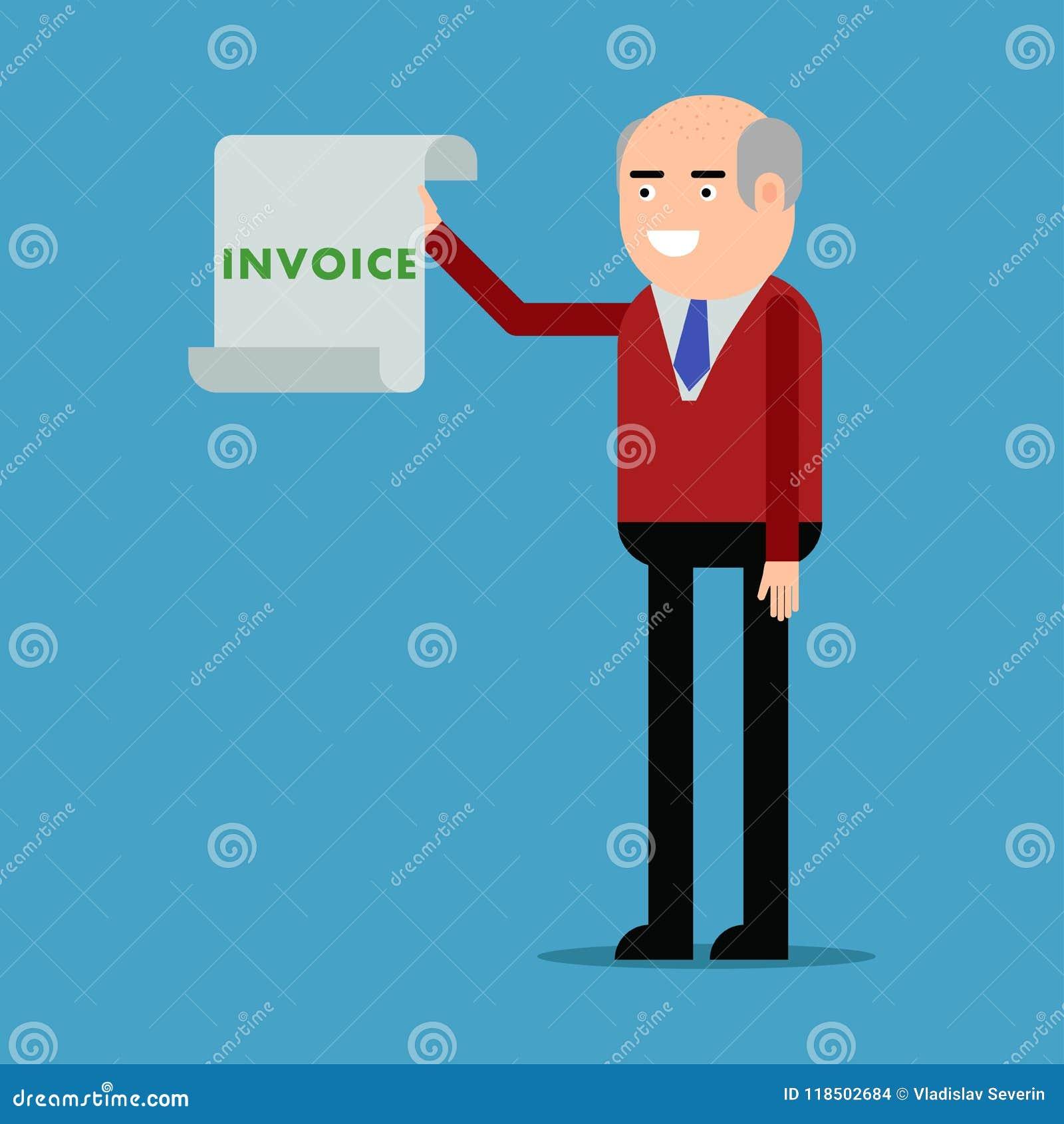 Affärsman som visar en faktura