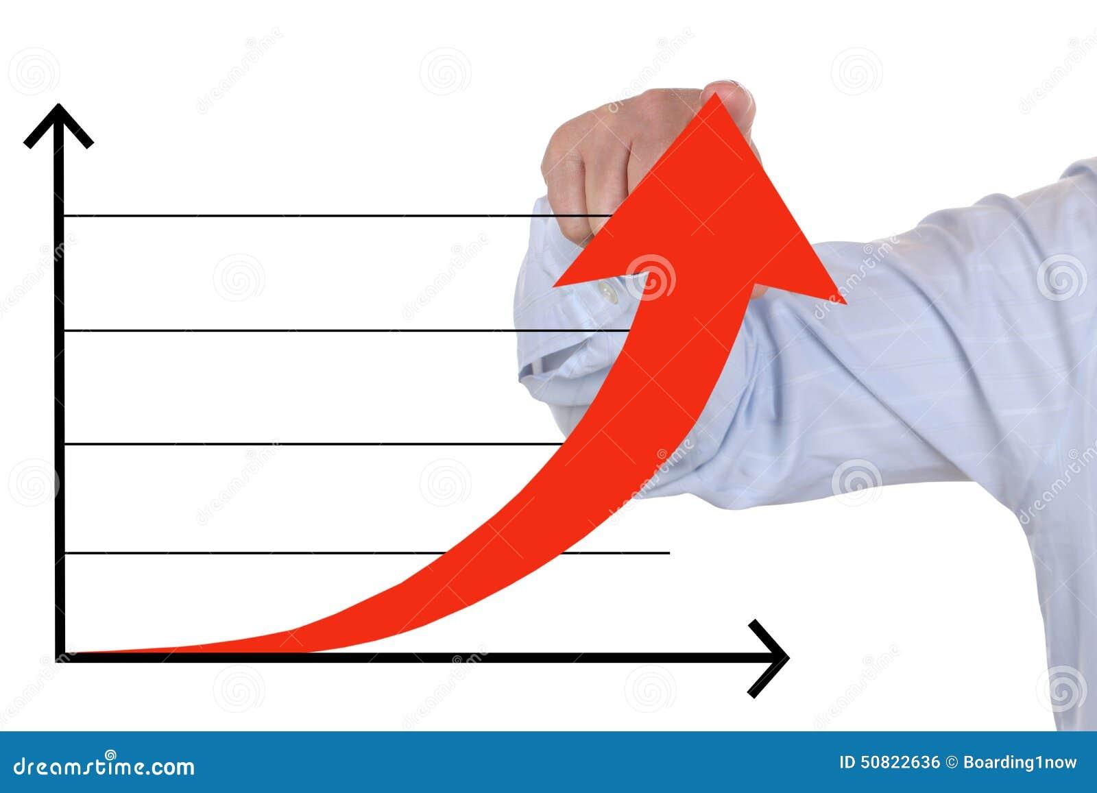 Affärsman som visar en lyckad stigning upp affärstillväxtdiagram