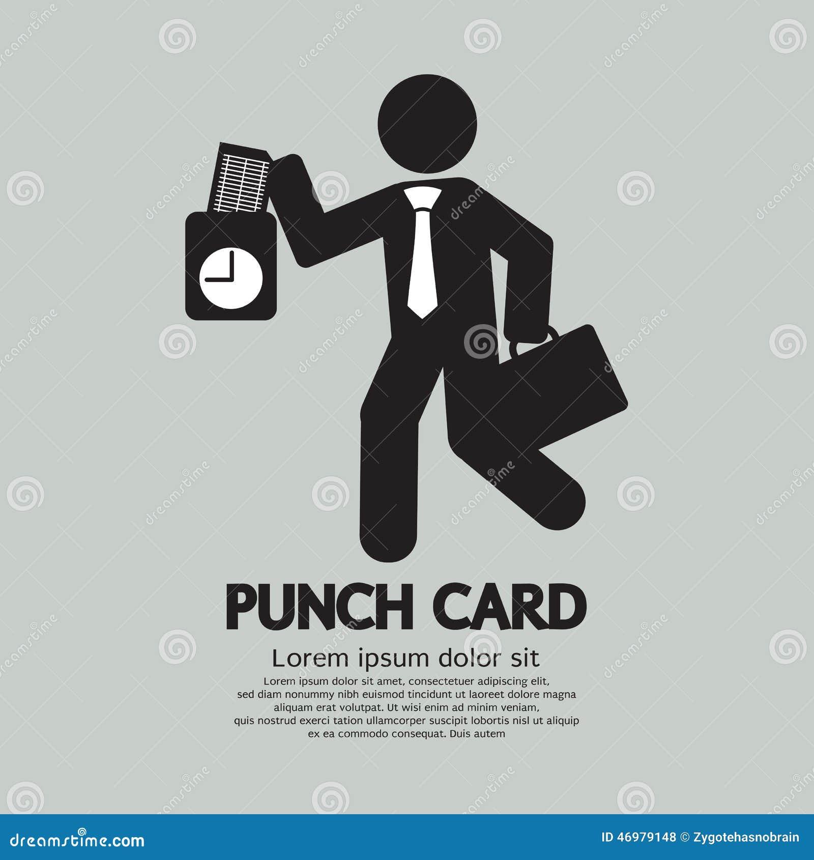 Affärsman Using Punch Card för den Tid kontrollen