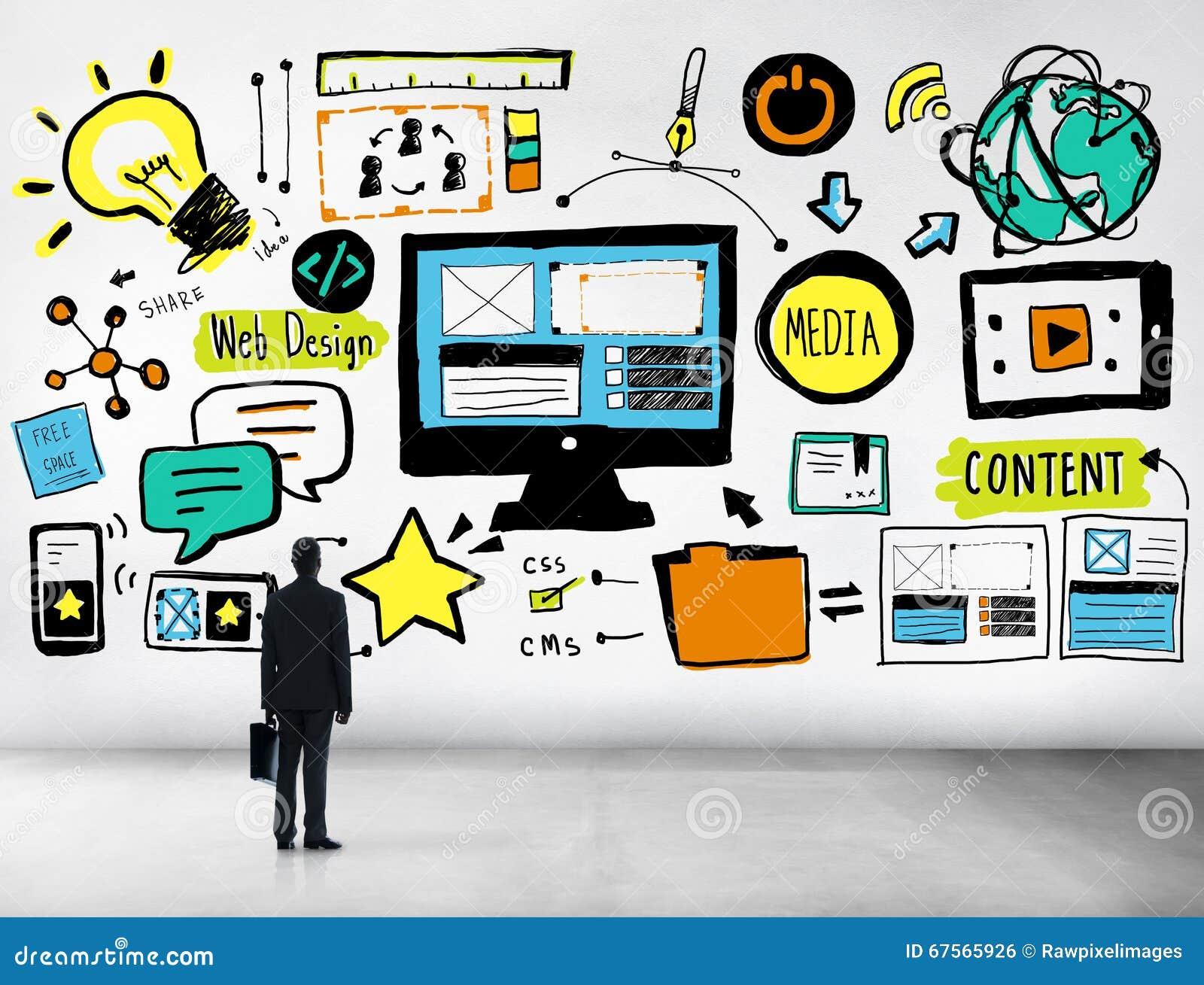 Affärsman Web Design Content som upp ser idébegrepp