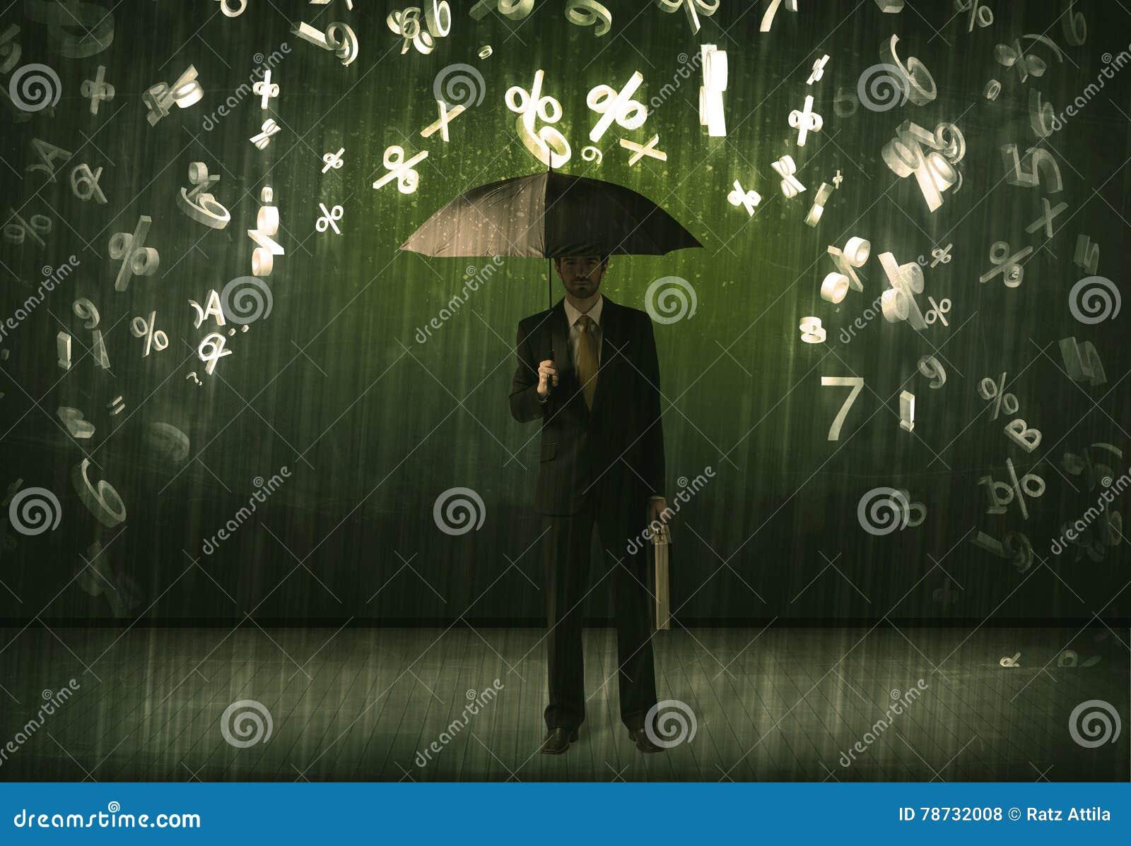 Affärsmananseendet med paraplyet och 3d numrerar att regna concep