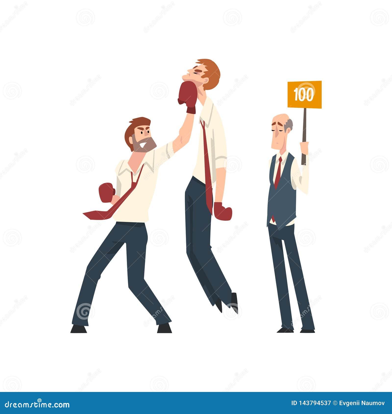 Affärsmanboxning, affärsfolk som konkurrerar bland dem, affärskonkurrens, ledarskap och teamworkvektor