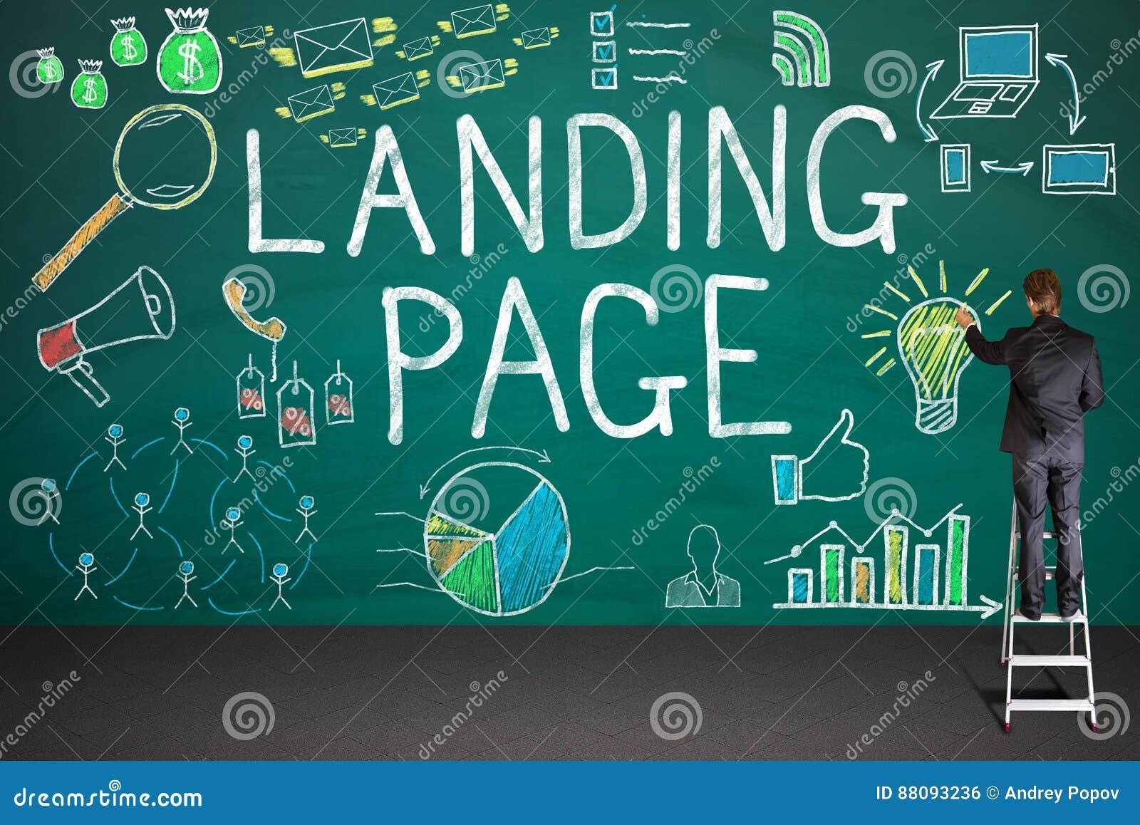 AffärsmanDrawing Landing Page begrepp på svart tavla