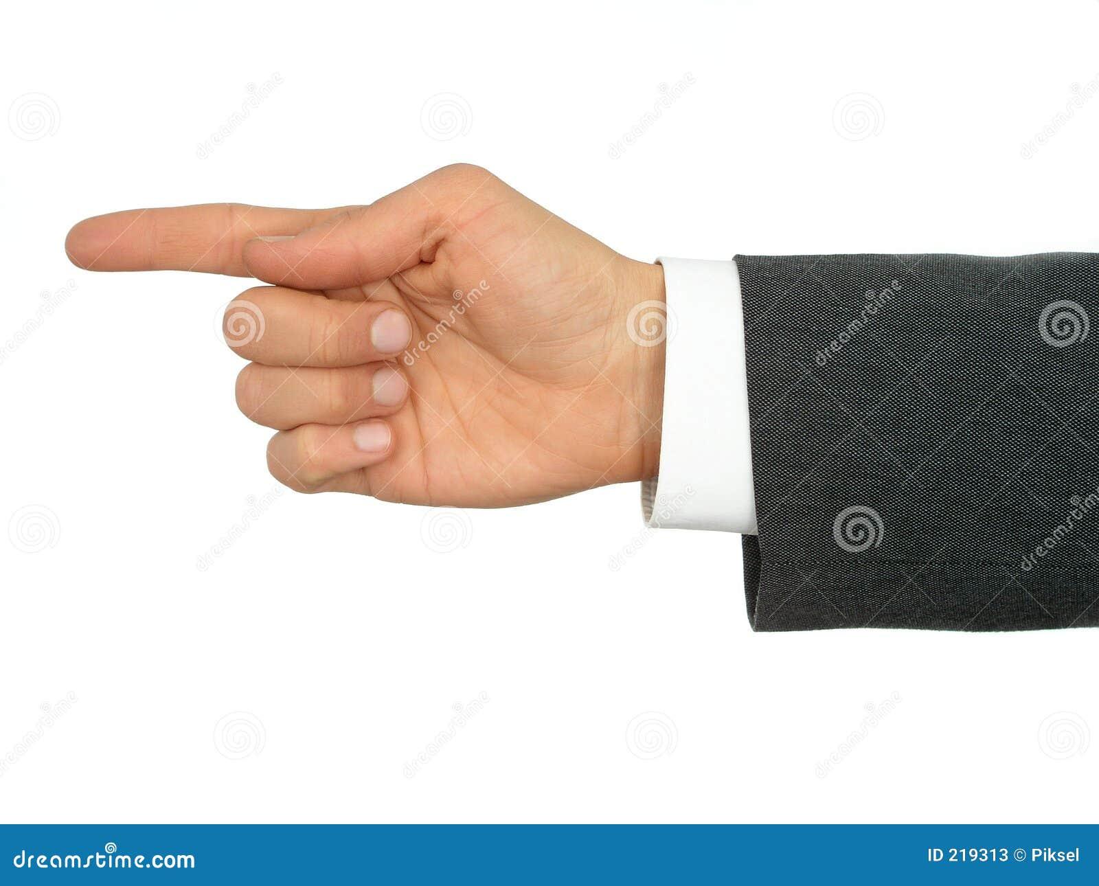 Affärsmanfingerhand som pekar s
