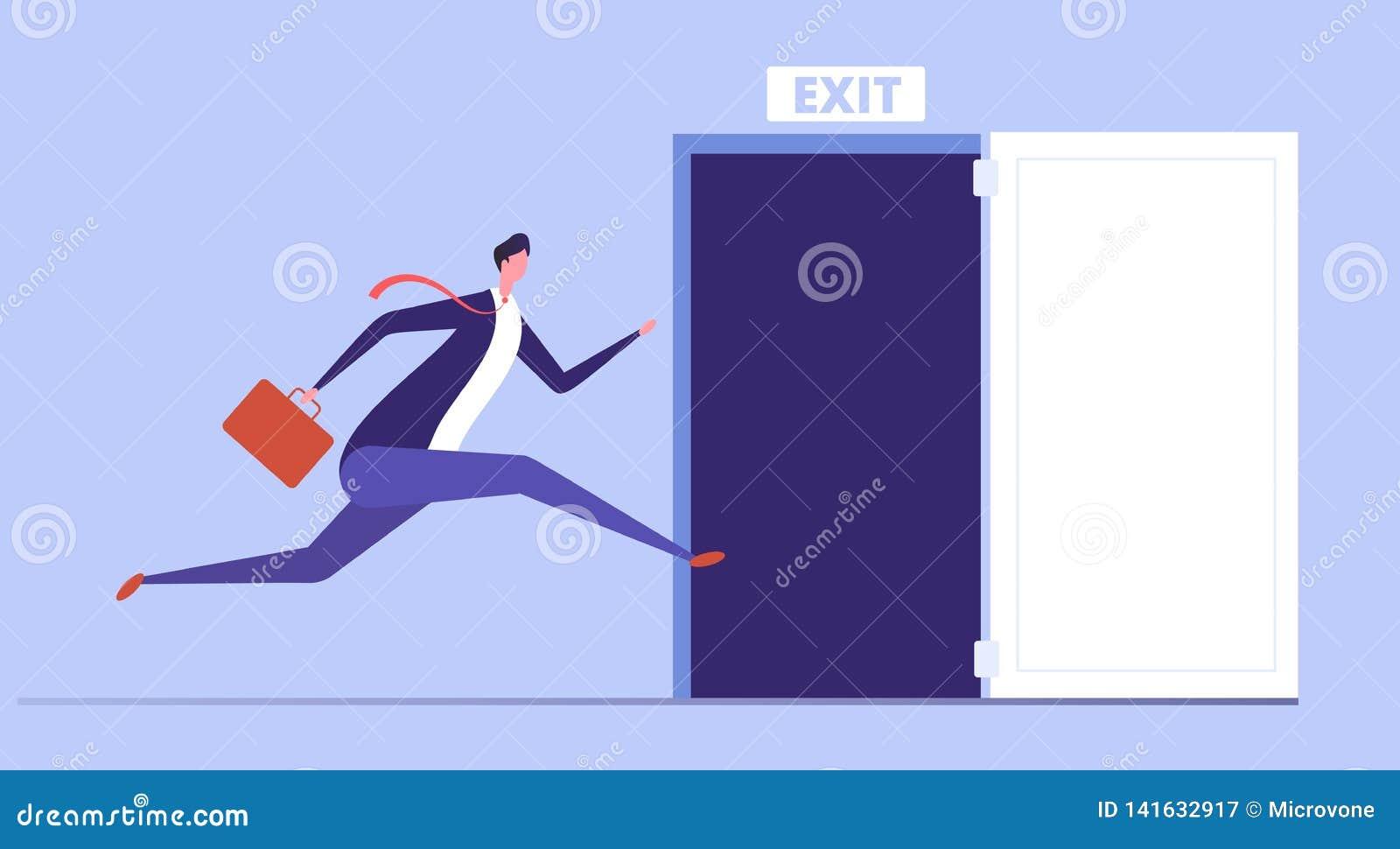 Affärsmankörning som öppnar utgångsdörren Nöd- flykt och evakuering från kontorsvektoraffärsidé