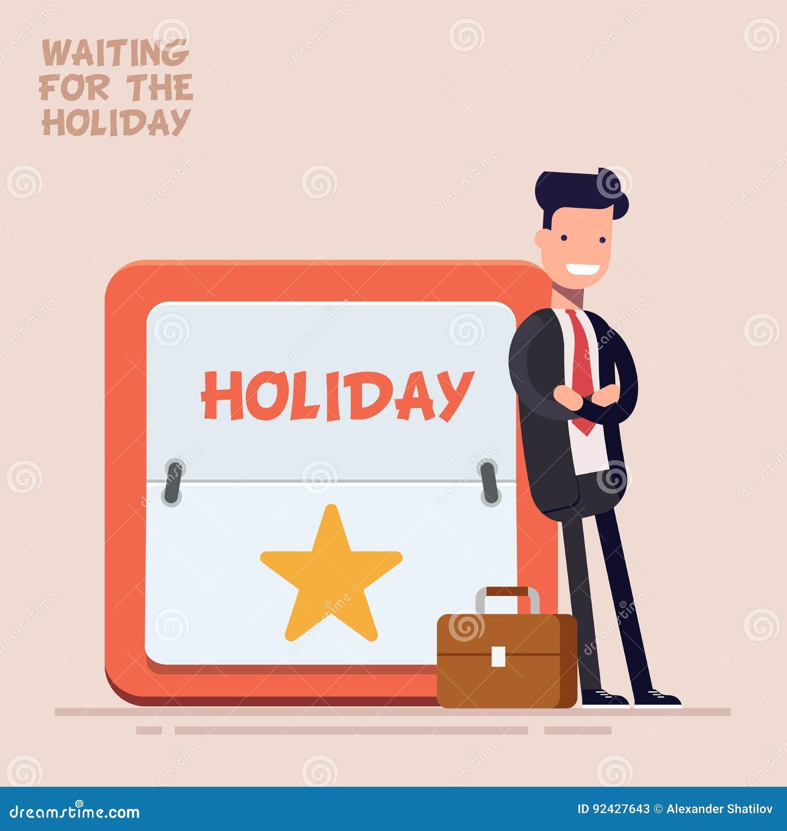 Affärsmannen eller chefen i en affärsdräkt och resväska står nära en stor kalender med en helg eller en ferie plant