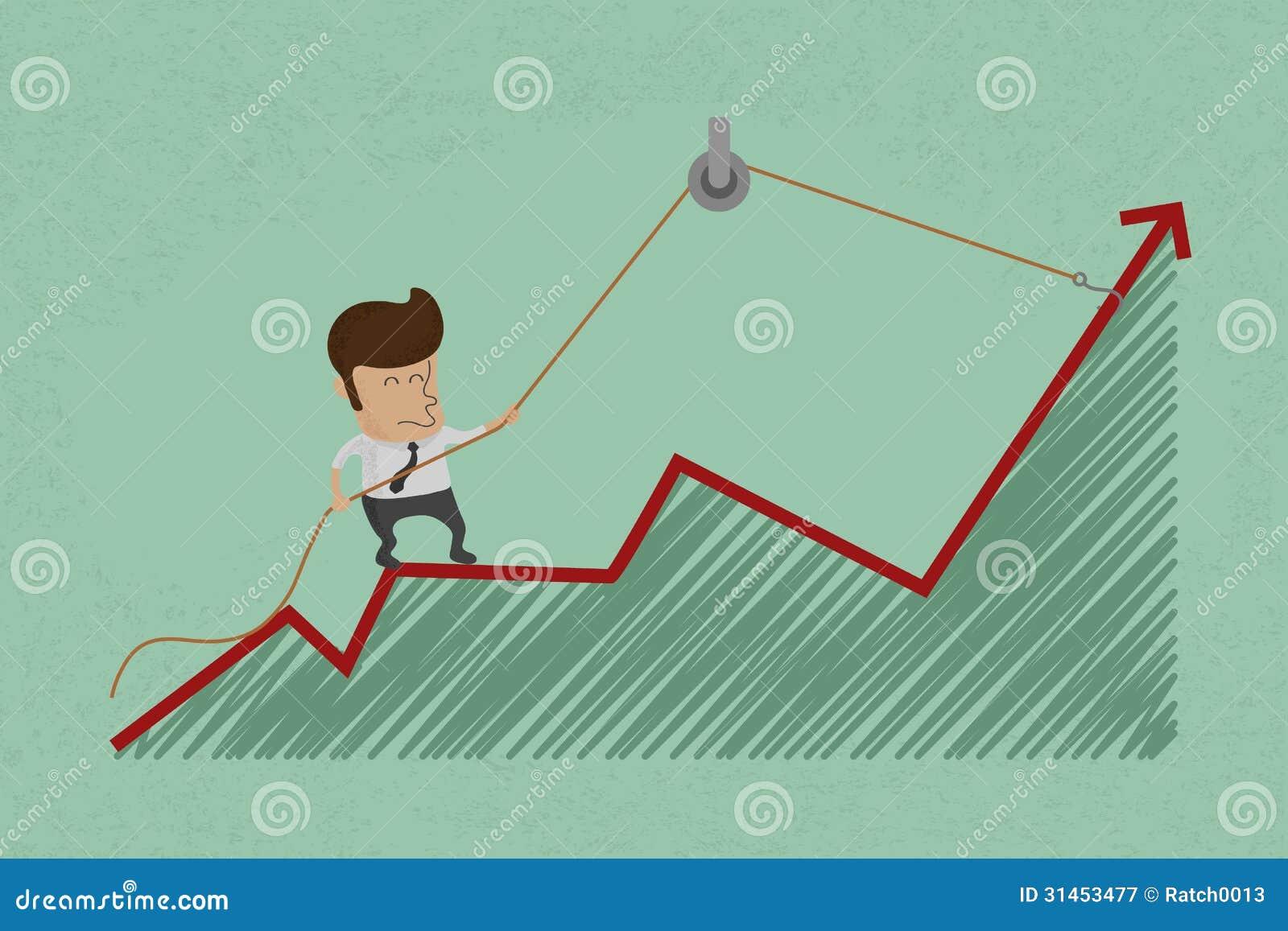 Affärsmannen gör ombunden tillväxt