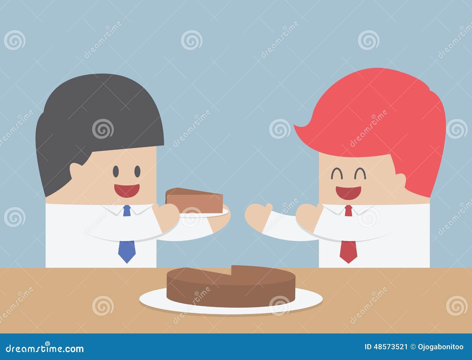 Affärsmannen ger ett stycke av kakan till andra, marknadsandelconcep