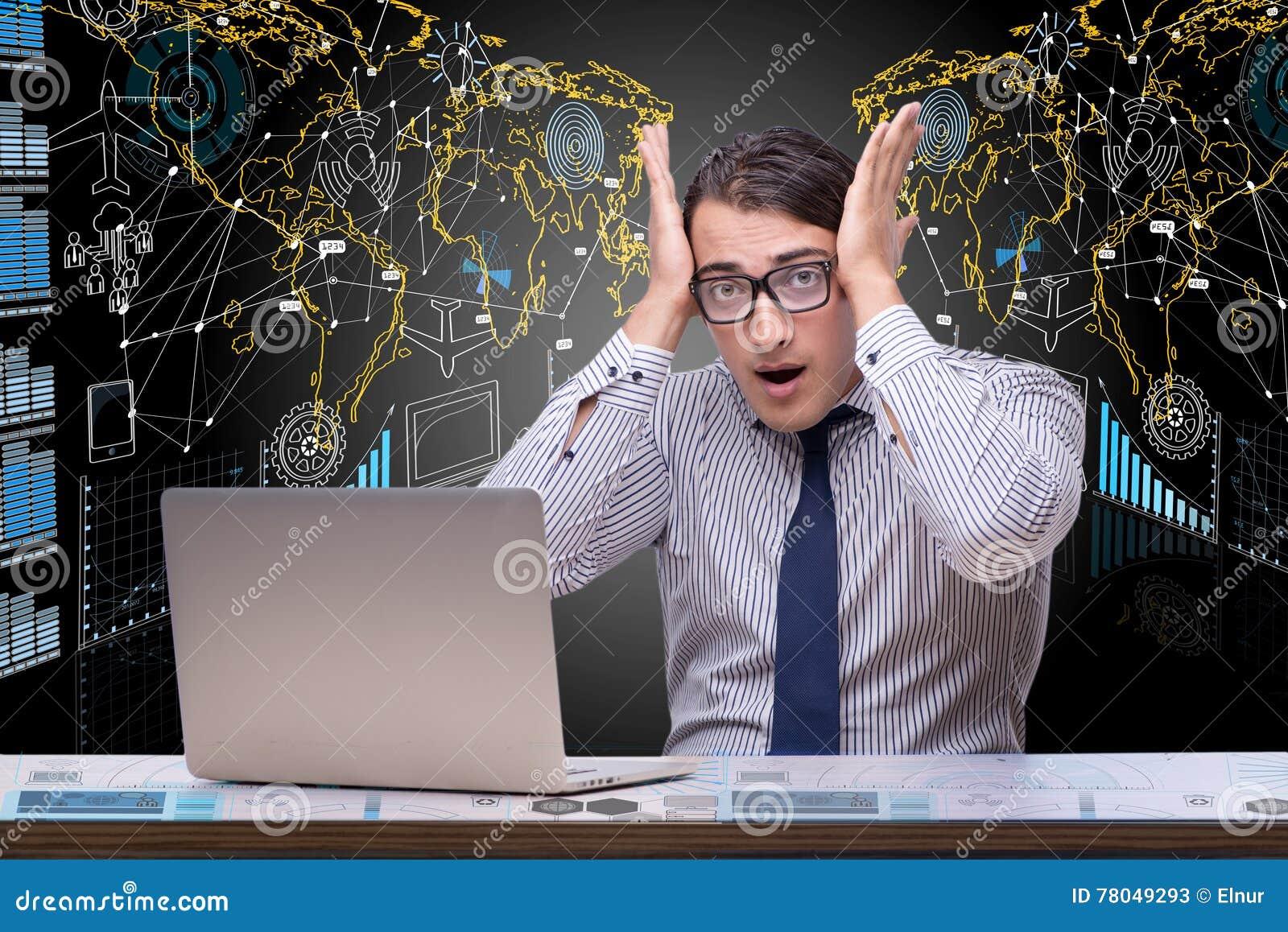 Affärsmannen i data som bryter begrepp med bärbara datorn