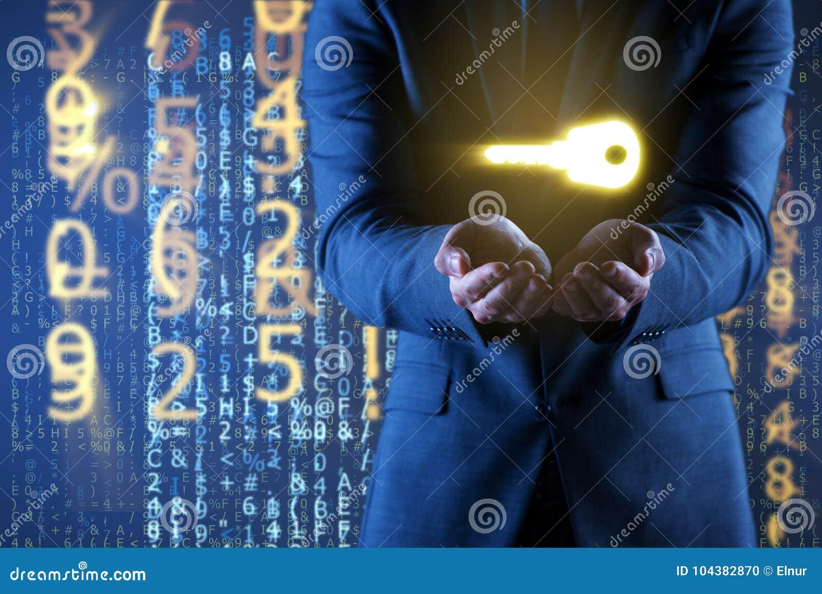 Affärsmannen i digitalt säkerhetsbegrepp