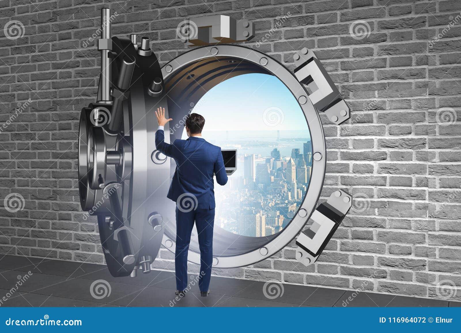 Affärsmannen i digitalt skydd mot cyberhot