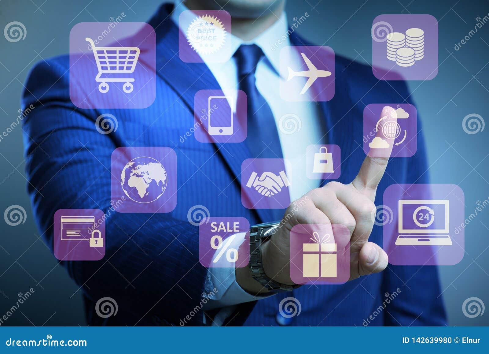 Affärsmannen i online-handel- och shoppabegrepp