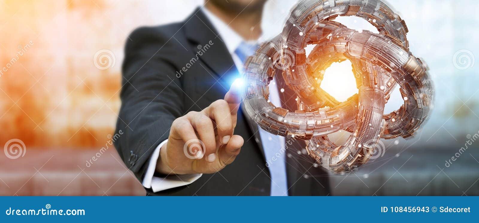 Affärsmannen som använder den futuristiska toruset, texturerade tolkningen för objekt 3D