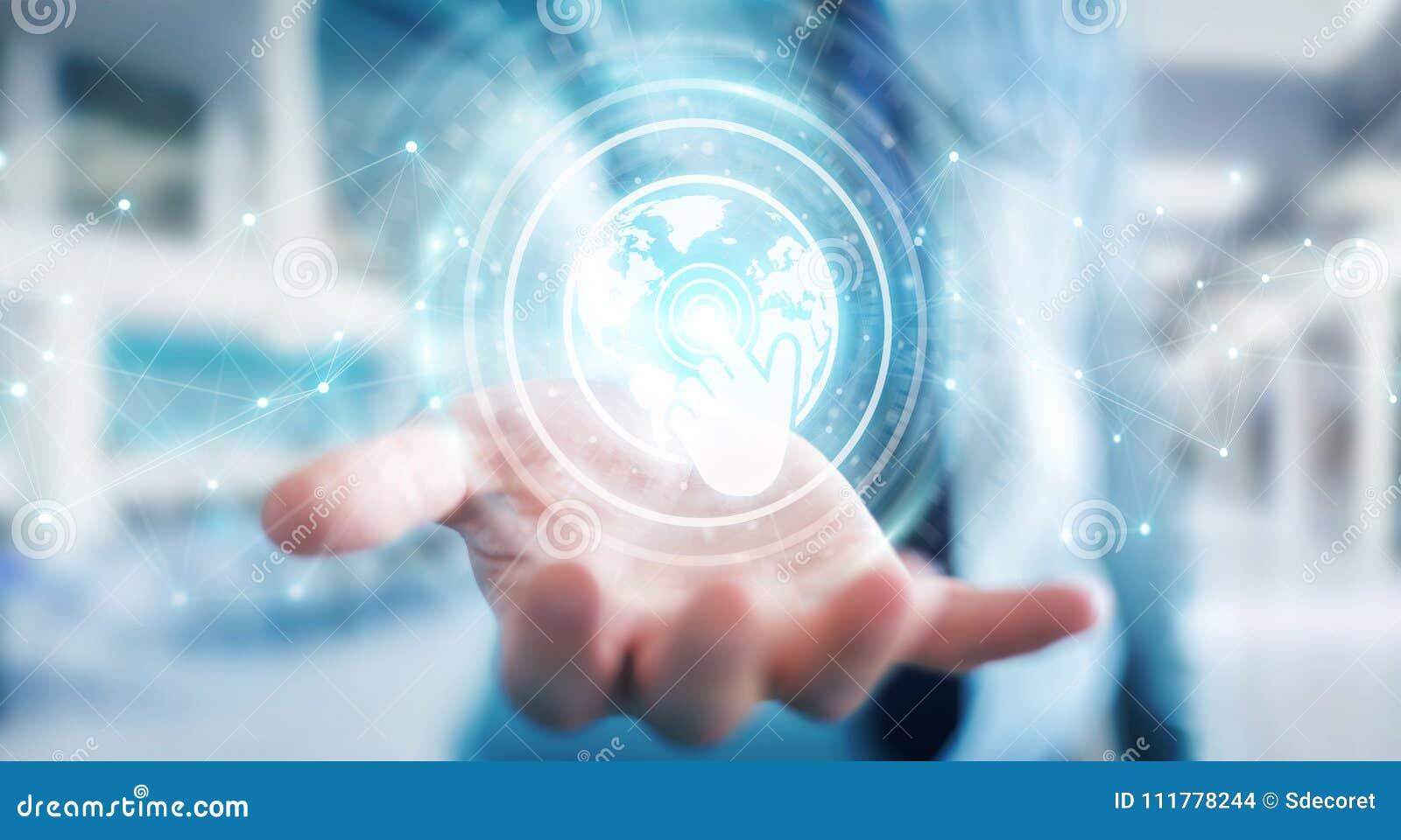 Affärsmannen som använder digitala skärmar, har kontakt med hologramdata