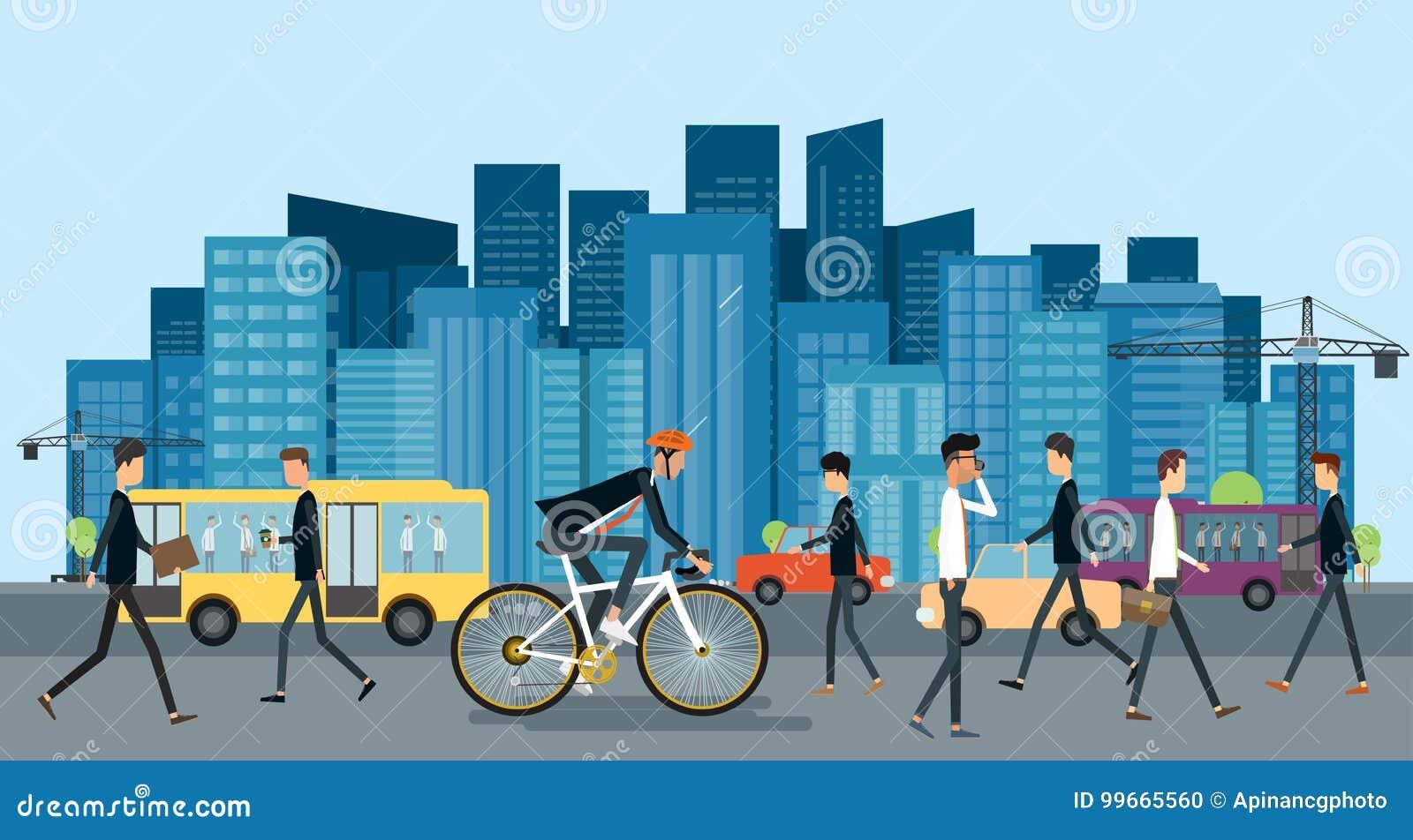 Affärsmannen som cyklar på vägen, går att arbeta i stads- med affärsfolk