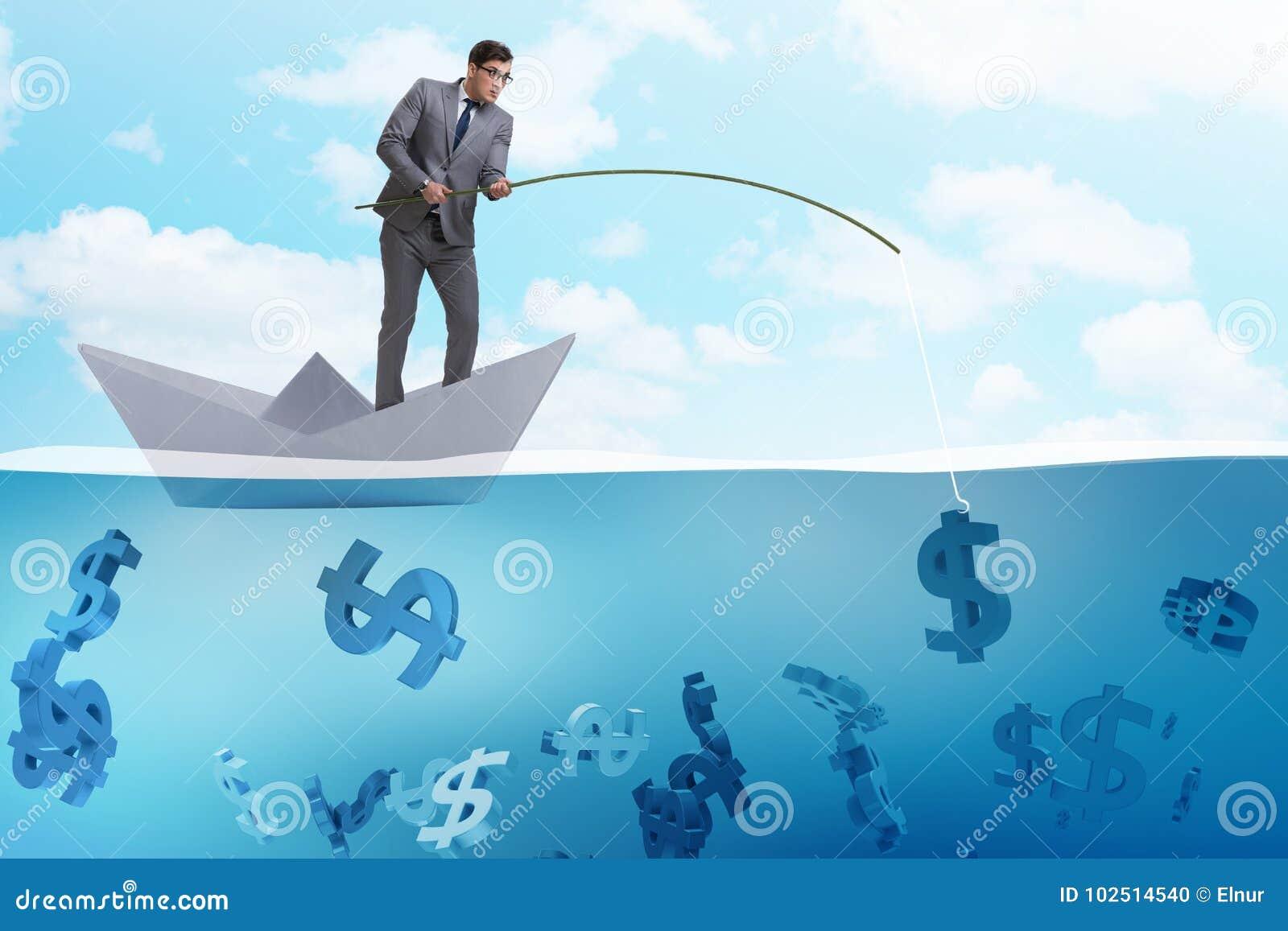 Affärsmannen som fiskar dollarpengar från det pappers- fartygskeppet