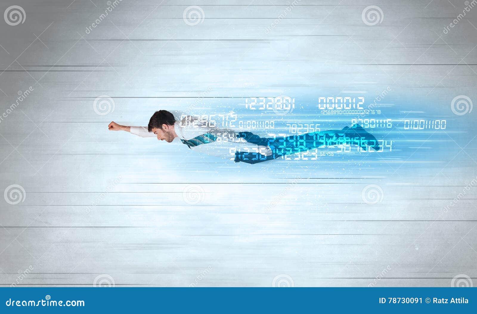 Affärsmannen som flyger toppet snabbt med data, numrerar kvarlämnat