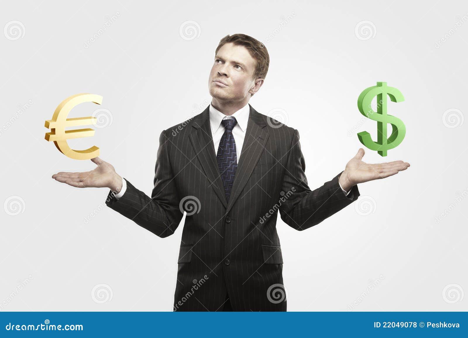 Affärsmannen väljer unga dollareurotecken
