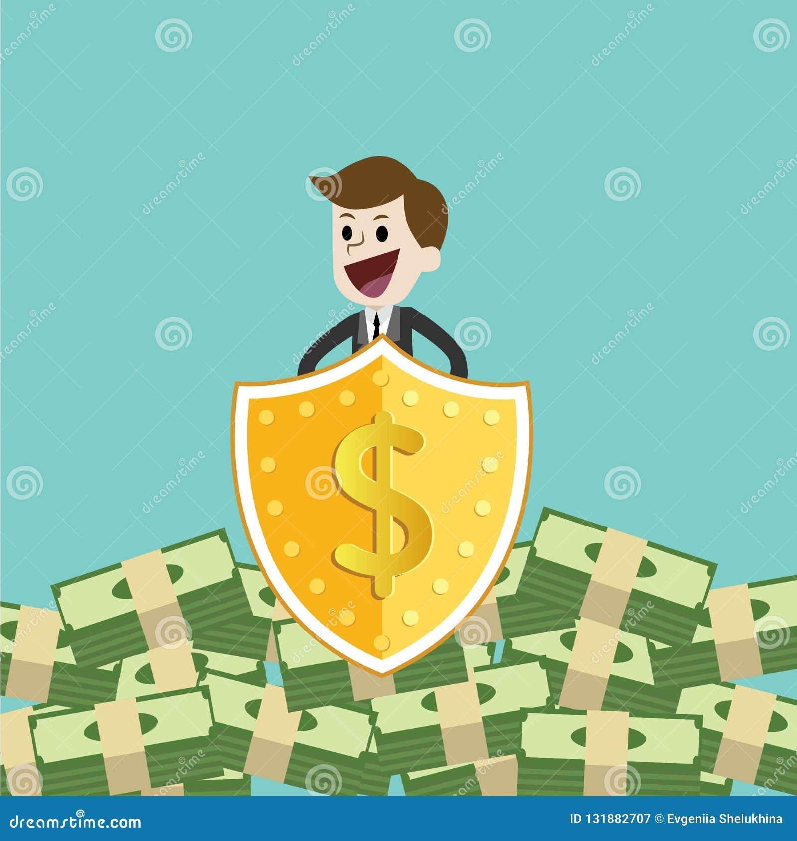 AffärsmanProtecting Money With sköld och svärd skydda pengar från skatt och skuld med svärdet och skölden