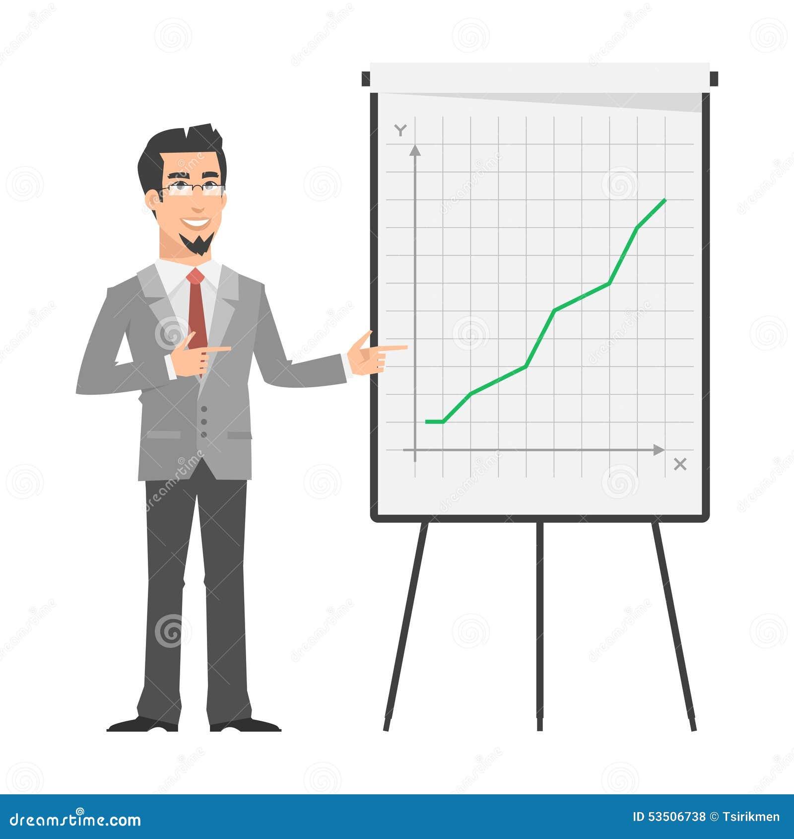 Affärsmanpunkter på flip-diagram