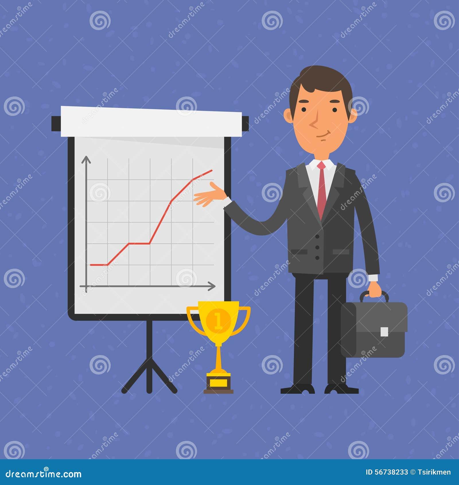 Affärsmanpunkter på flip-diagram med grafen