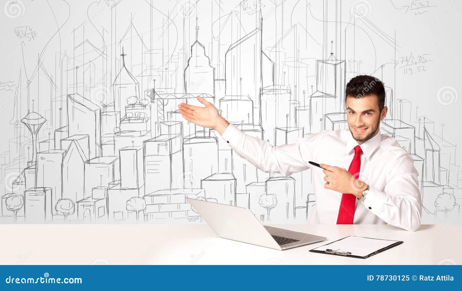 Affärsmansammanträde på den vita tabellen med hand drog byggnader