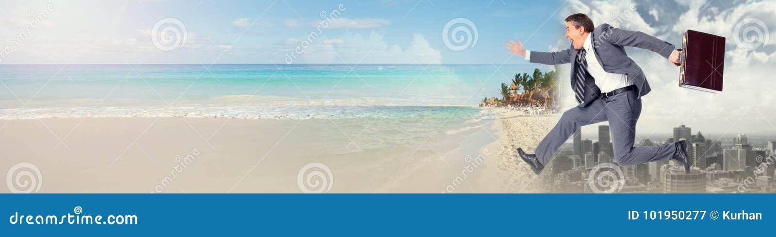 Affärsmanspring på stranden