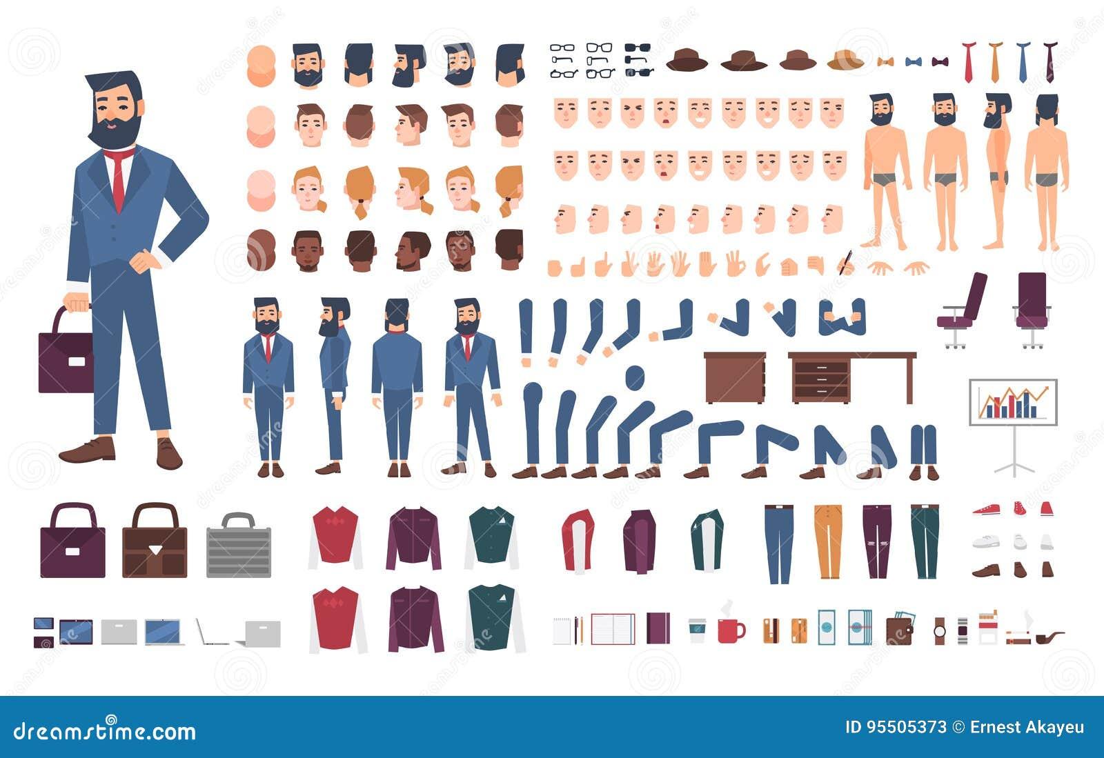 Affärsmanteckenkonstruktör Manlig kontoristskapelseuppsättning Olika ställingar, frisyr, framsida, ben, händer