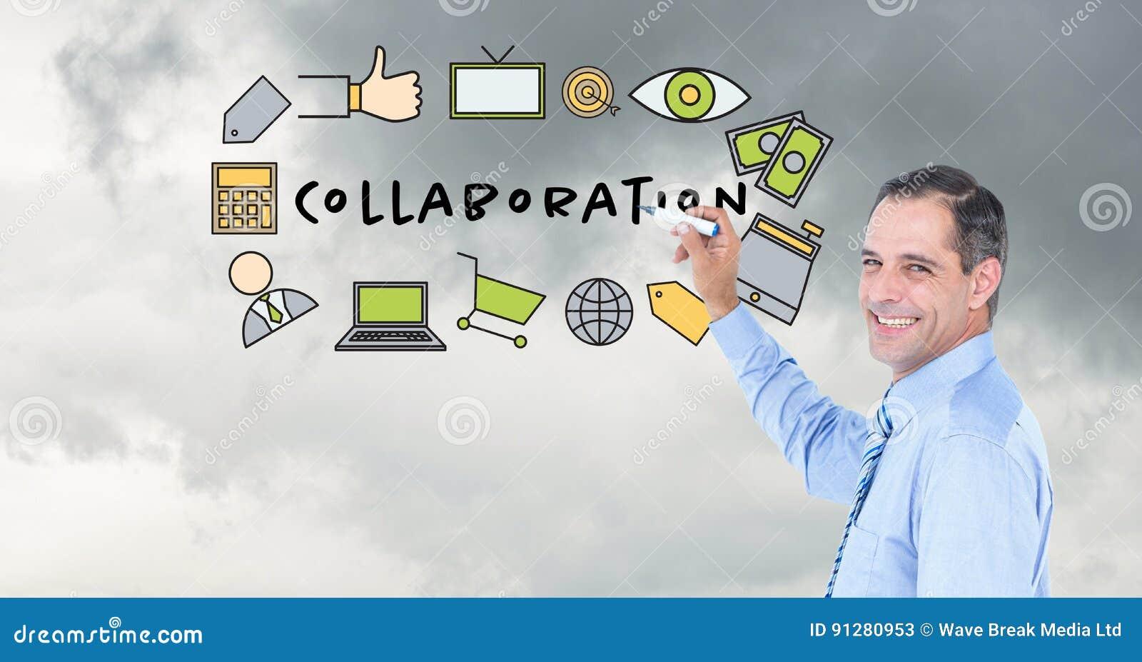 Affärsmanteckningsdiagram med text på skärmen