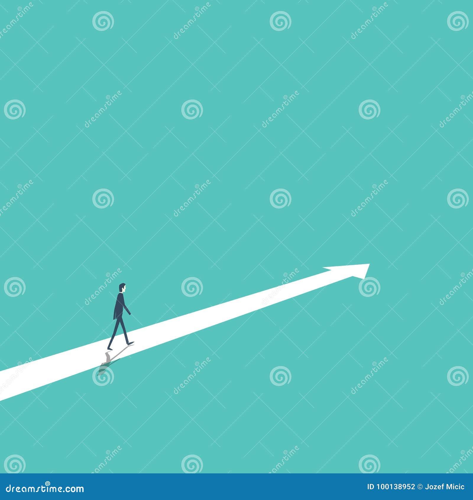 Affärsstrategi, plan, beslut, begrepp för riktningsvektor med affärsmannen som framåtriktat går till framgång och tillväxt