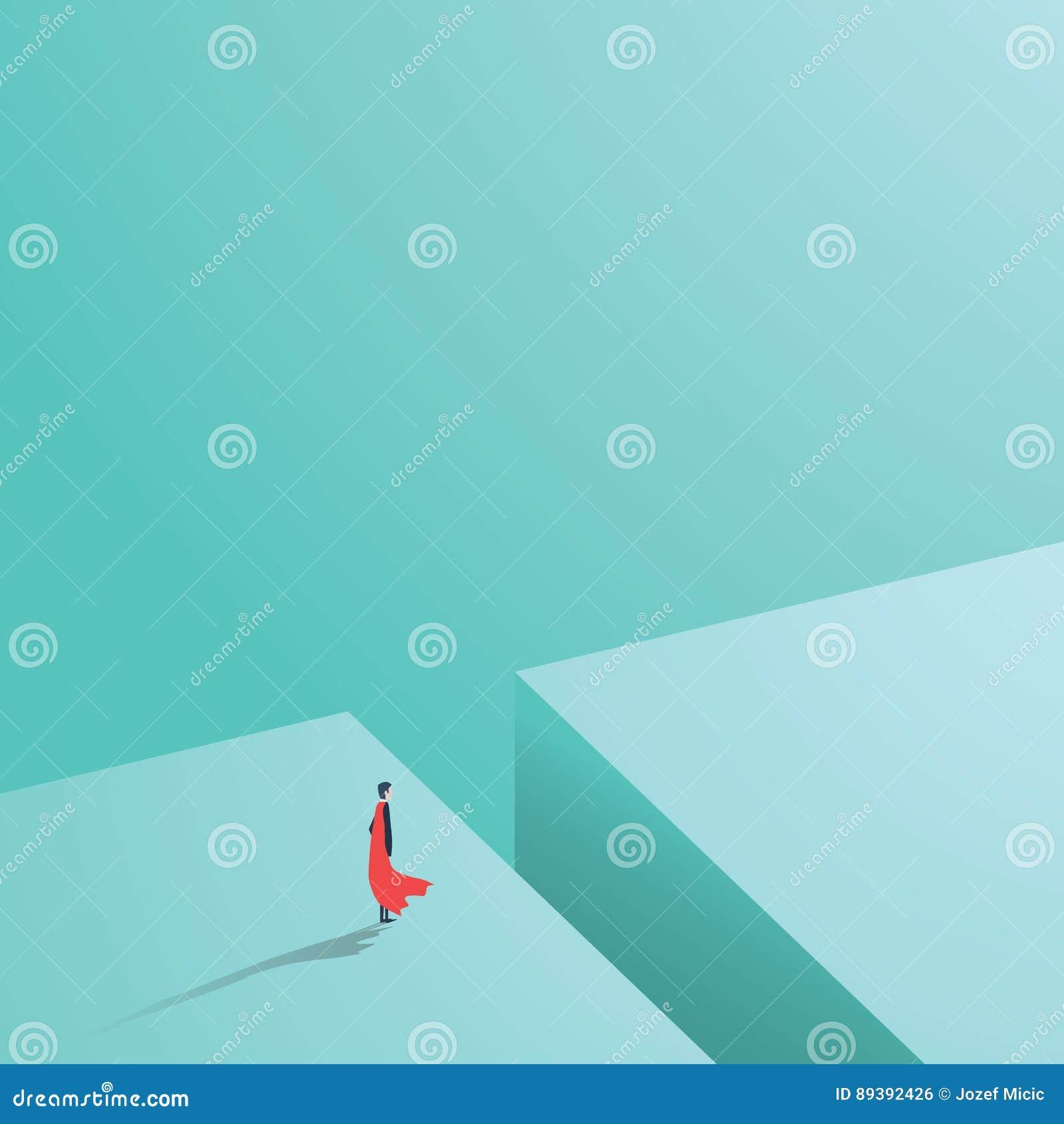 Affärssuperhero som står över det stora hålet, mellanrum, svalg Affärsidé av makt, styrka, kurage, glans och framgång