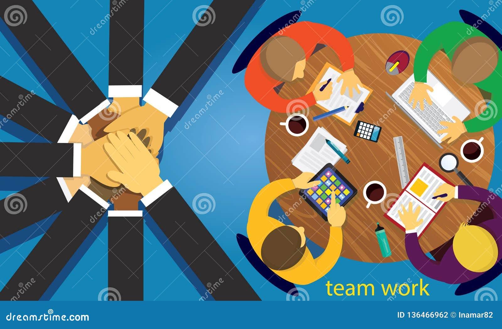 Affärsteamwork Team Hard Work Concept också vektor för coreldrawillustration