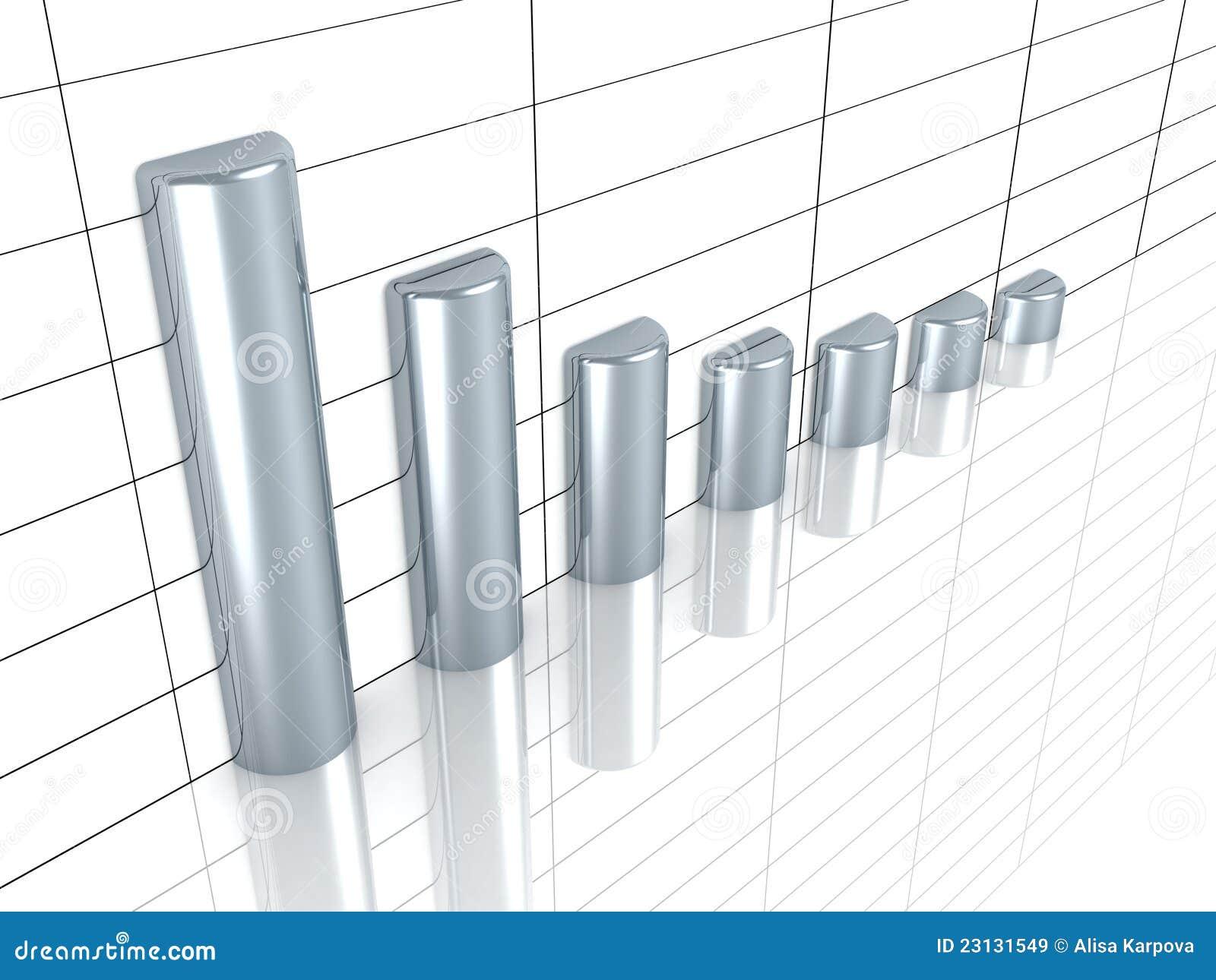 Affärstillväxtgraf med silverstänger