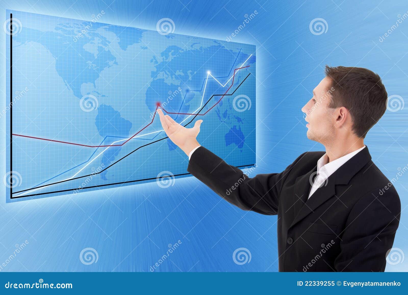 Affärsmannen charts den moderna översikten