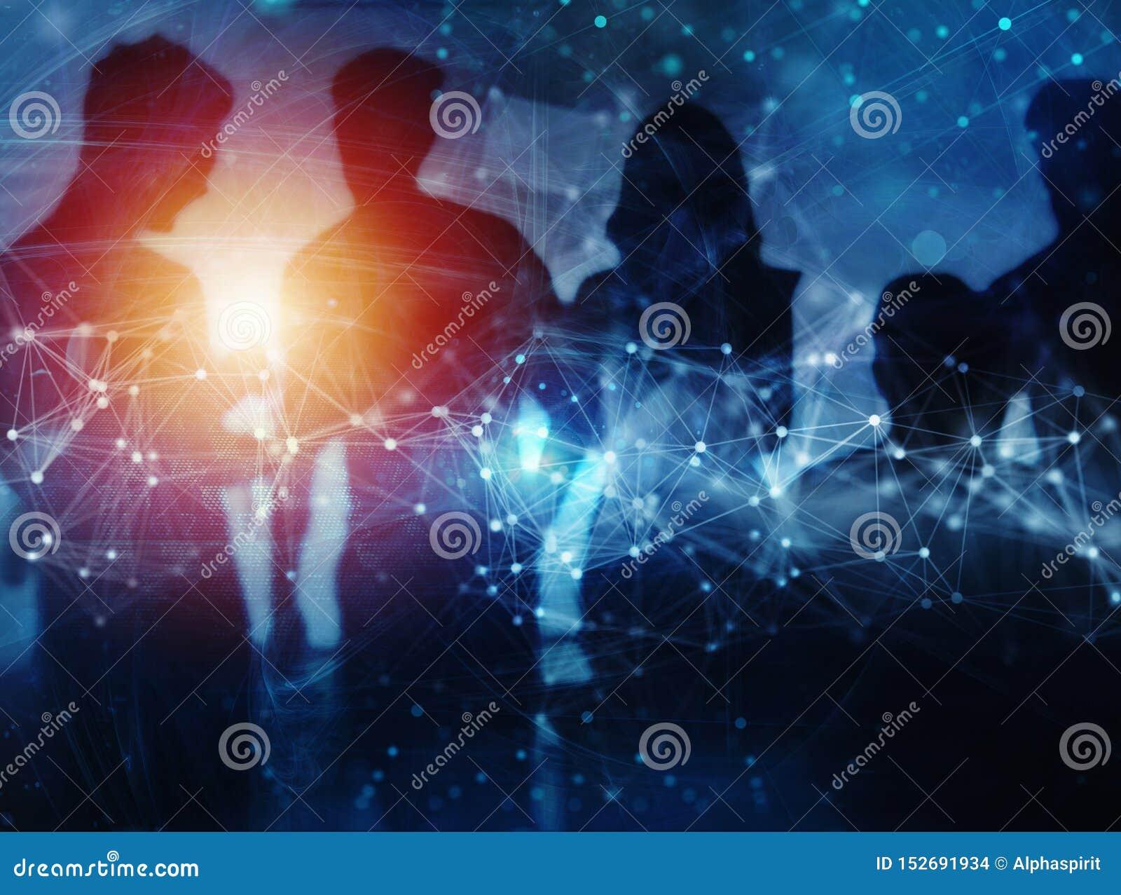 Aff?rsfolket samarbetar tillsammans i regeringsst?llning Internetuppkopplingeffekter Effekter f?r dubbel exponering
