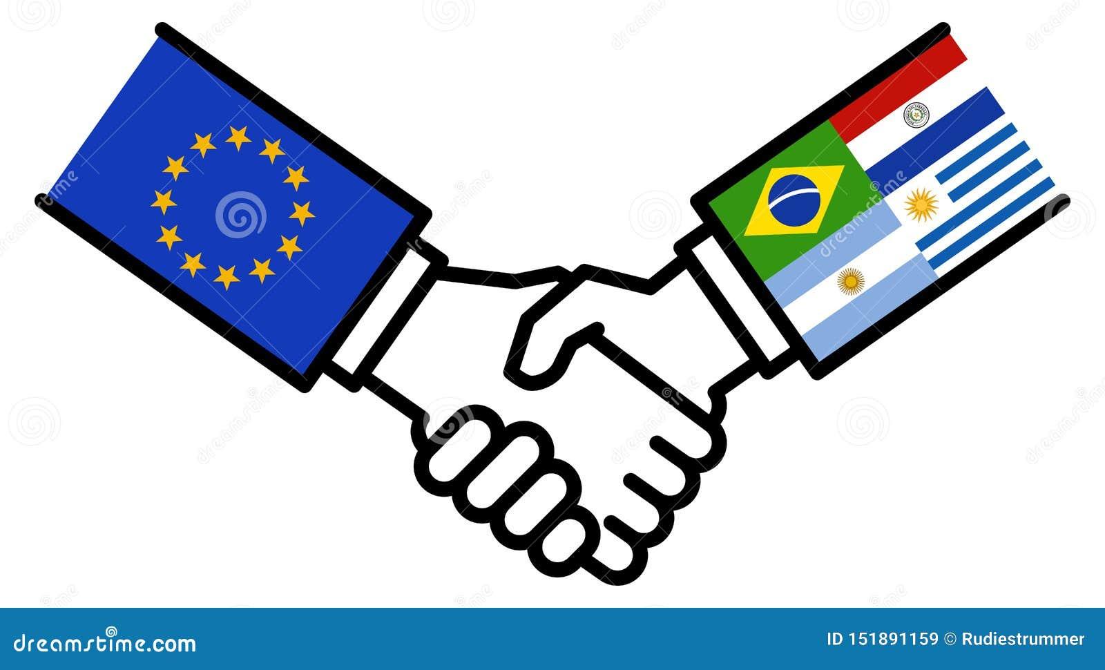 Affaire d affaires de MERCOSUR d UE, accord de libre-échange, poignée de main, amitié, concept, graphique